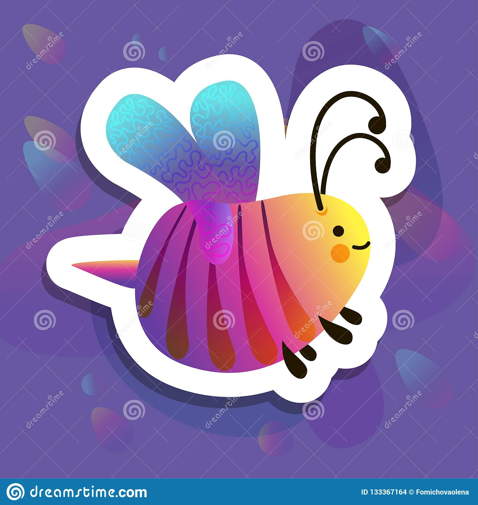 Colorful cartoon bright little bee. Smile and happy insect for kids books. Bug sticker