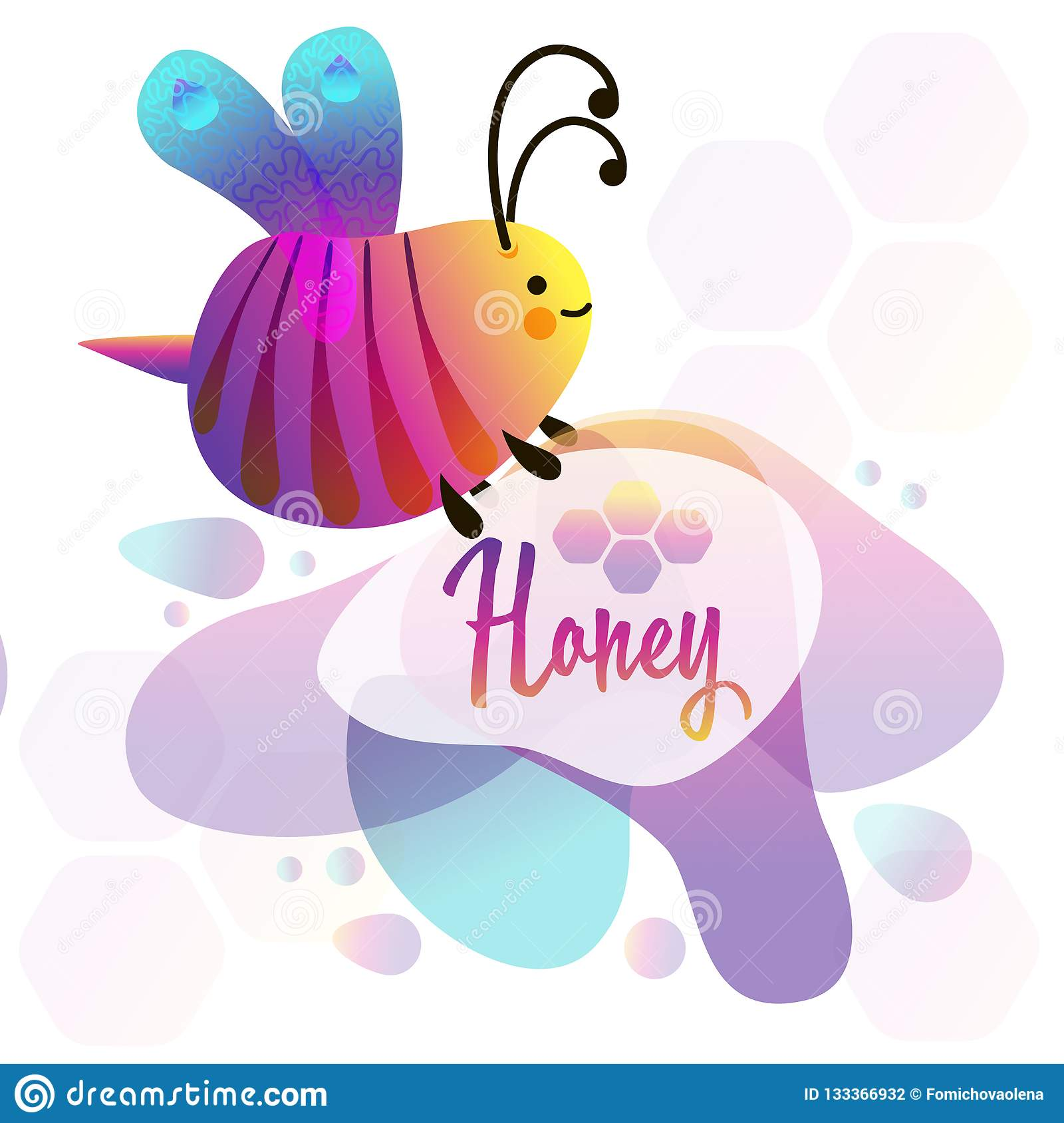 Colorful cartoon bright little bee. Smile and happy insect. Fluid geometric abstract shape