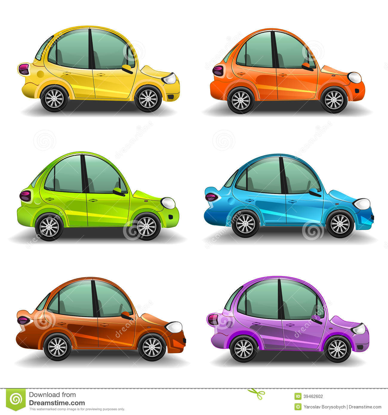 Colorful Cartoon Cars Stock Vector Image