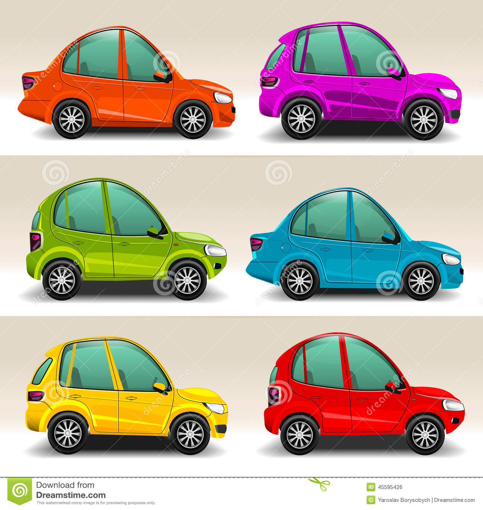 Colorful Cartoon Cars Vector Stock Vector