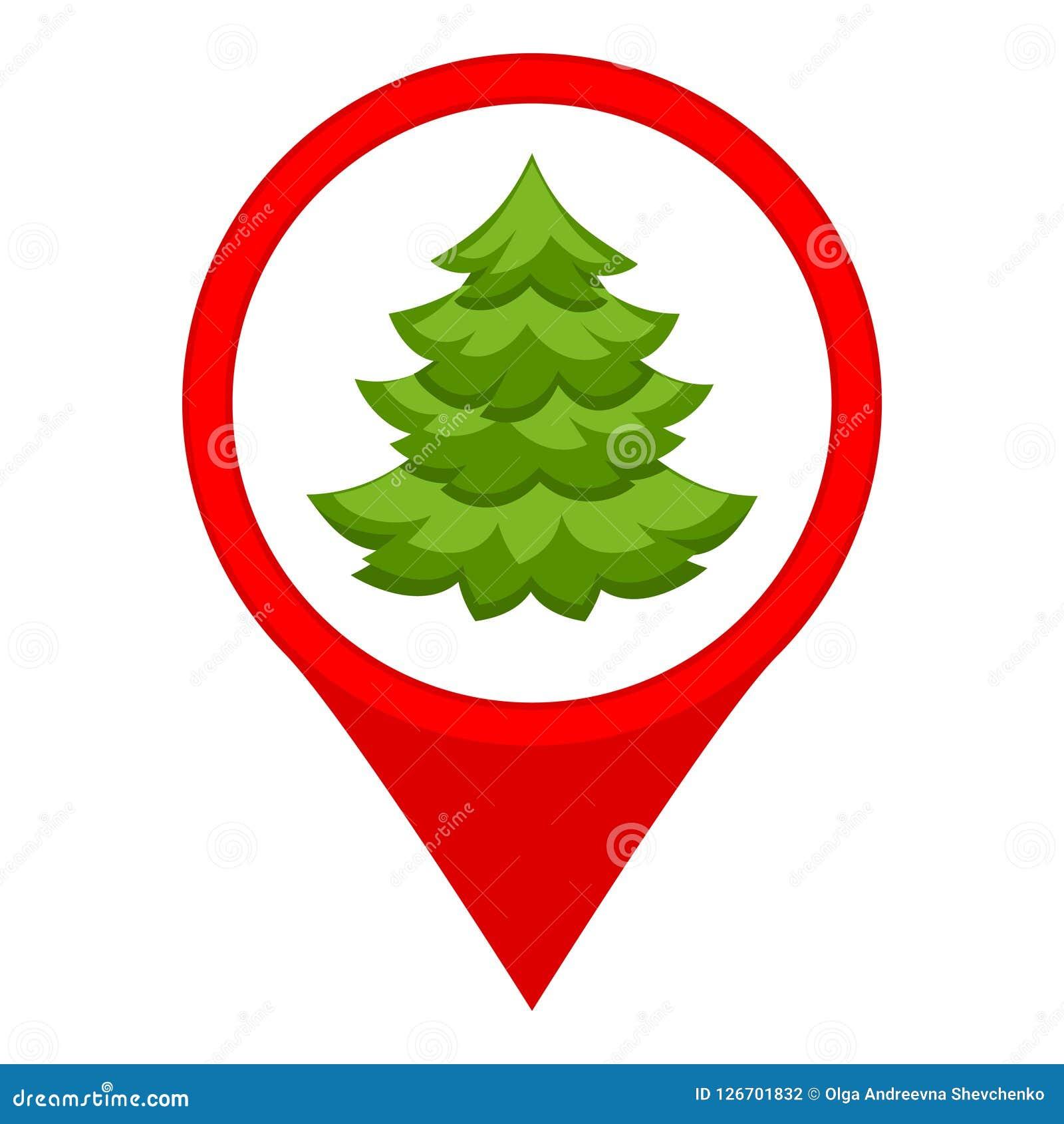 Colorful Cartoon Christmas Tree Market Map Sign Stock Vector
