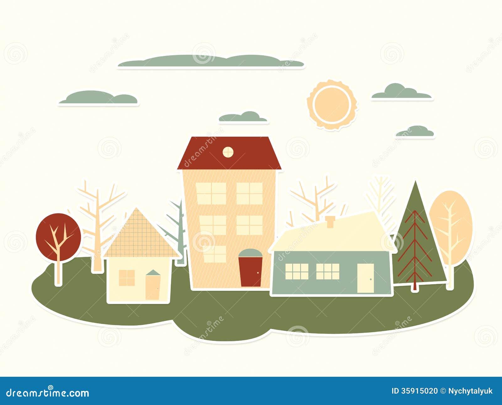 Colorful Cartoon City Landscape Paper Cutout Stock Photo