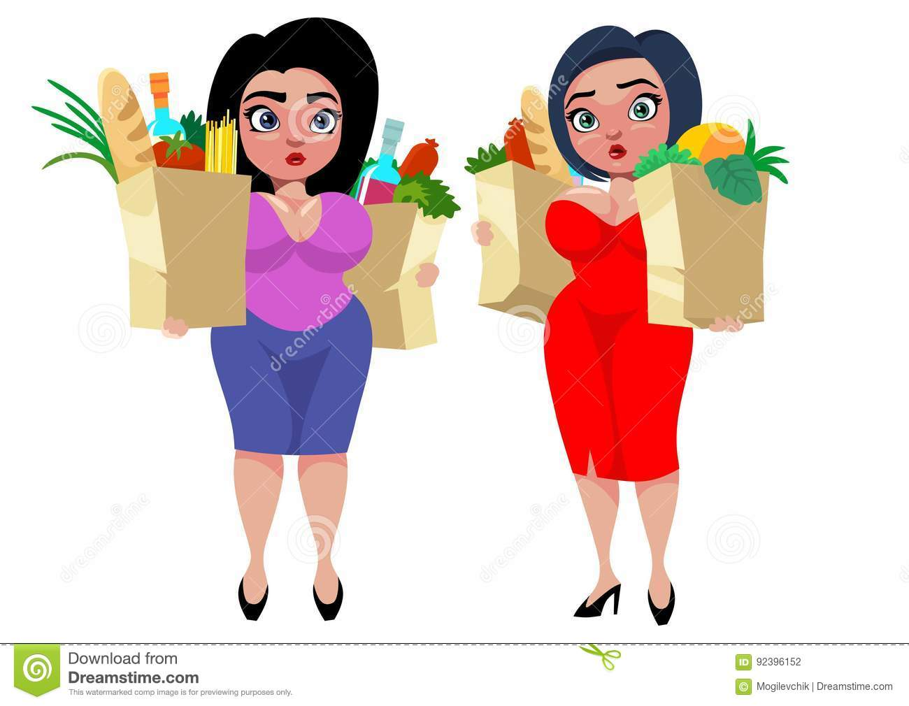 Colorful Cartoon Fat Women Concept. With shopping bags of food products  vegetables and fruits isolated