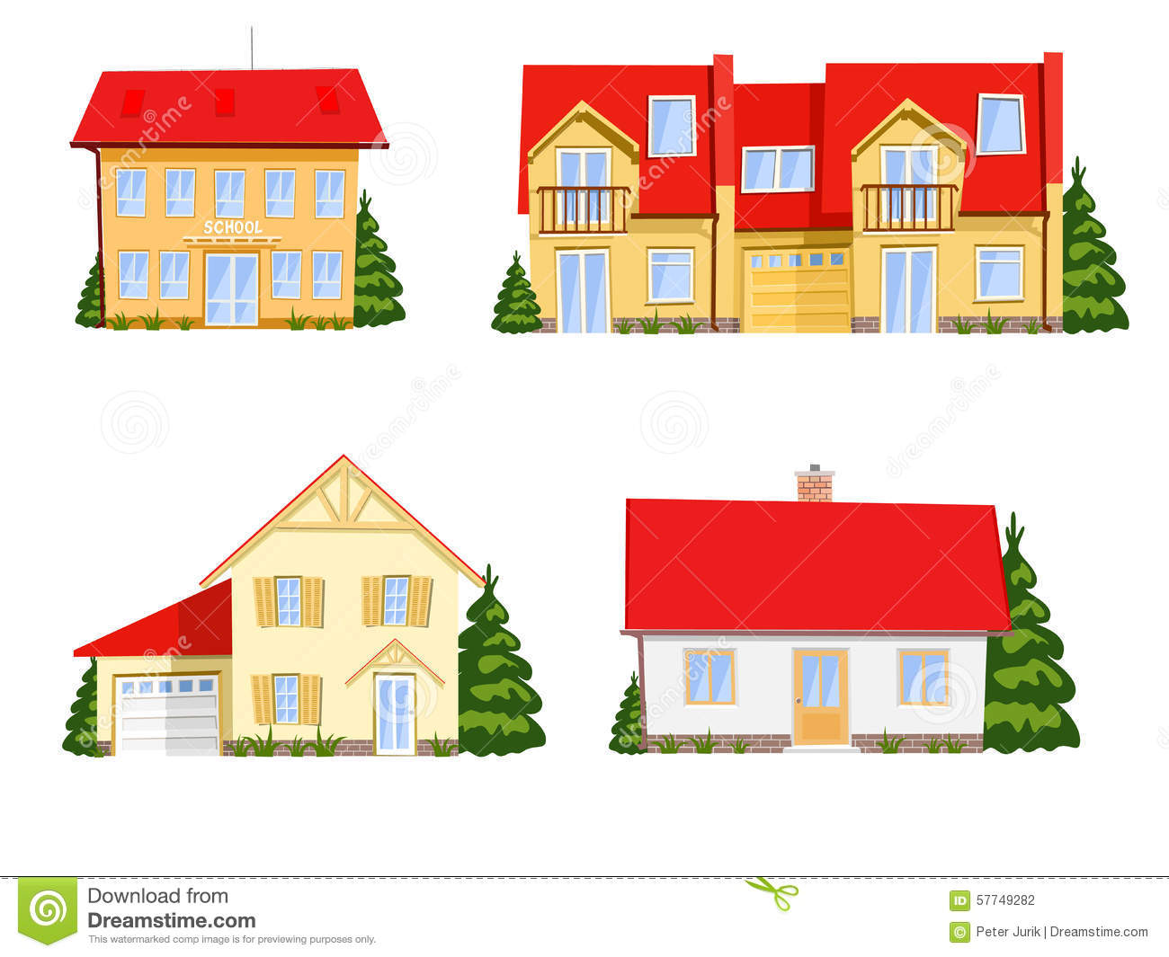 Colorful Cartoon Houses Stock Vector Image 57749282