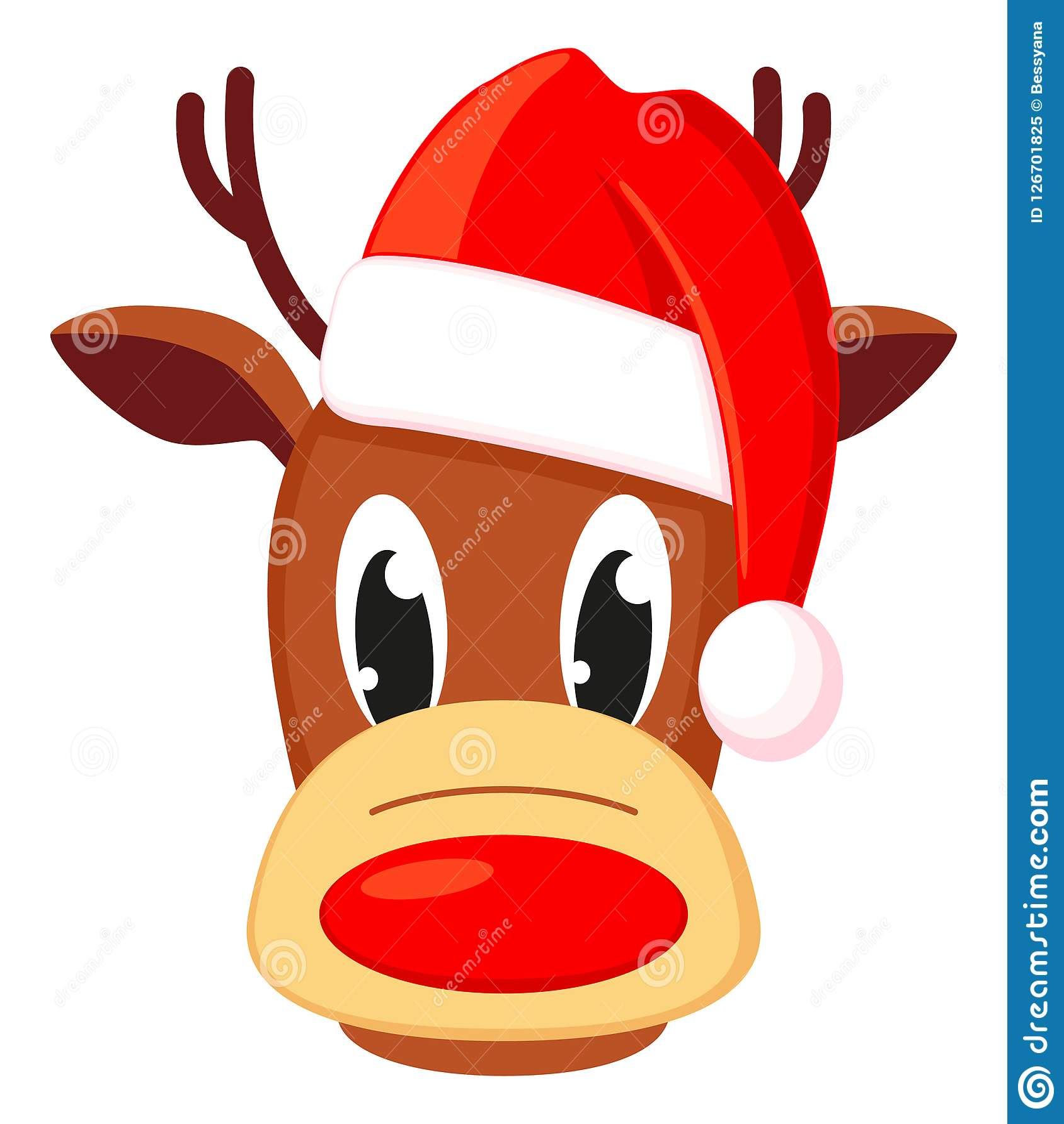 Colorful cartoon reindeer head in hat
