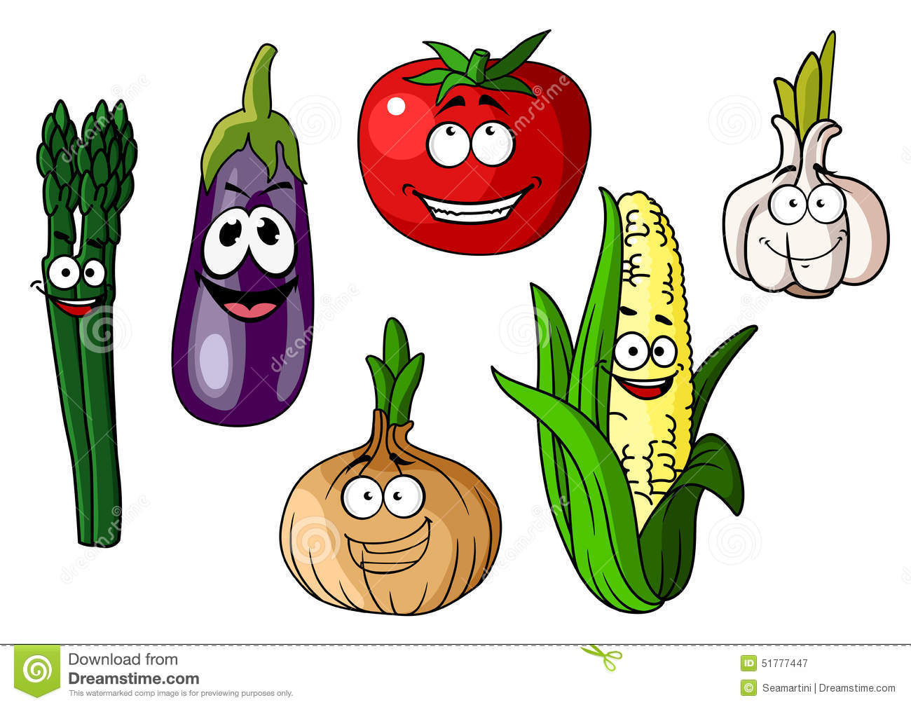 Set Of 6 Funny Cartoon Vegetables With Faces Stock Vector - Image ...
