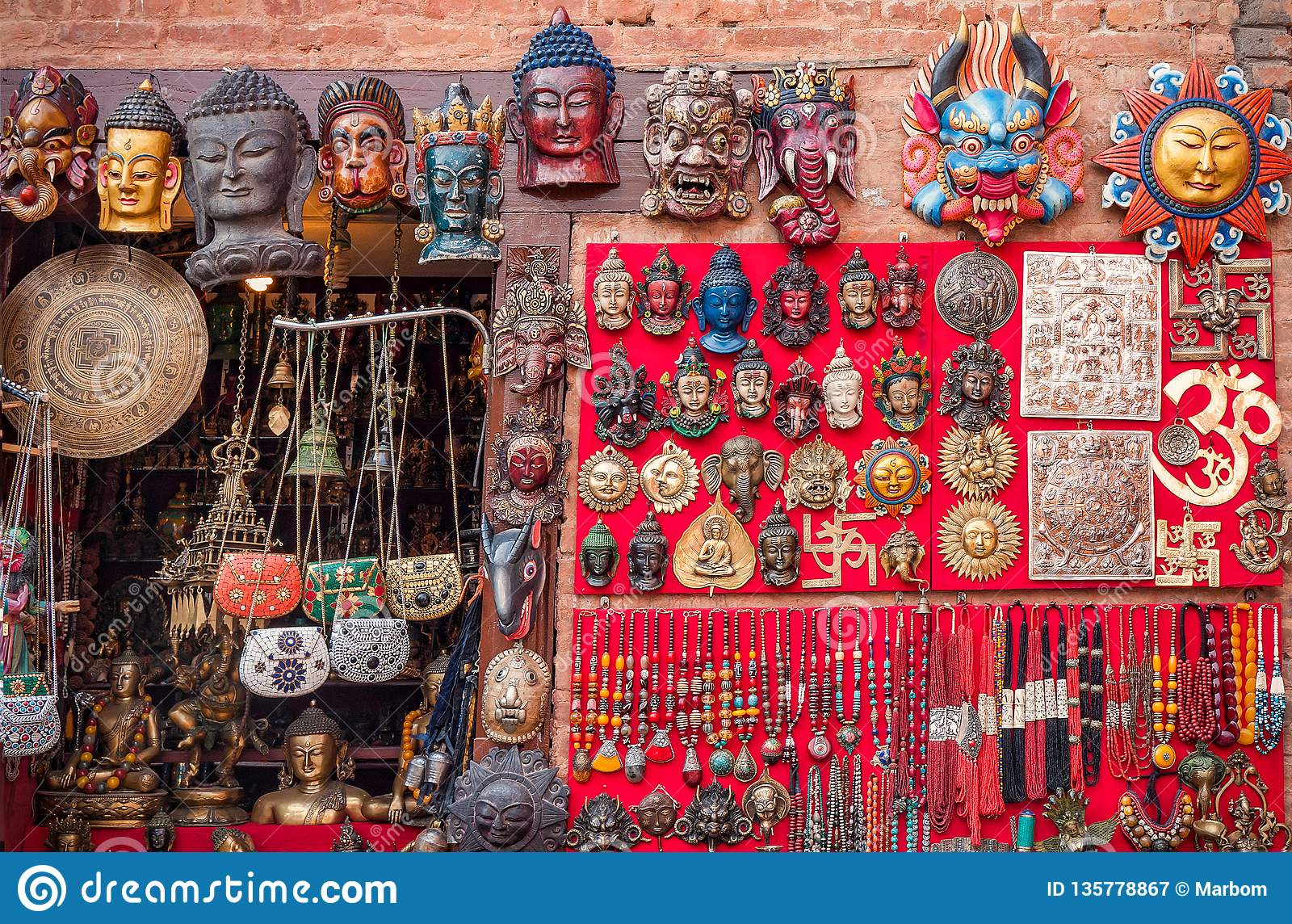 Colorful Carved Wooden Masks And Handicrafts On The Traditional