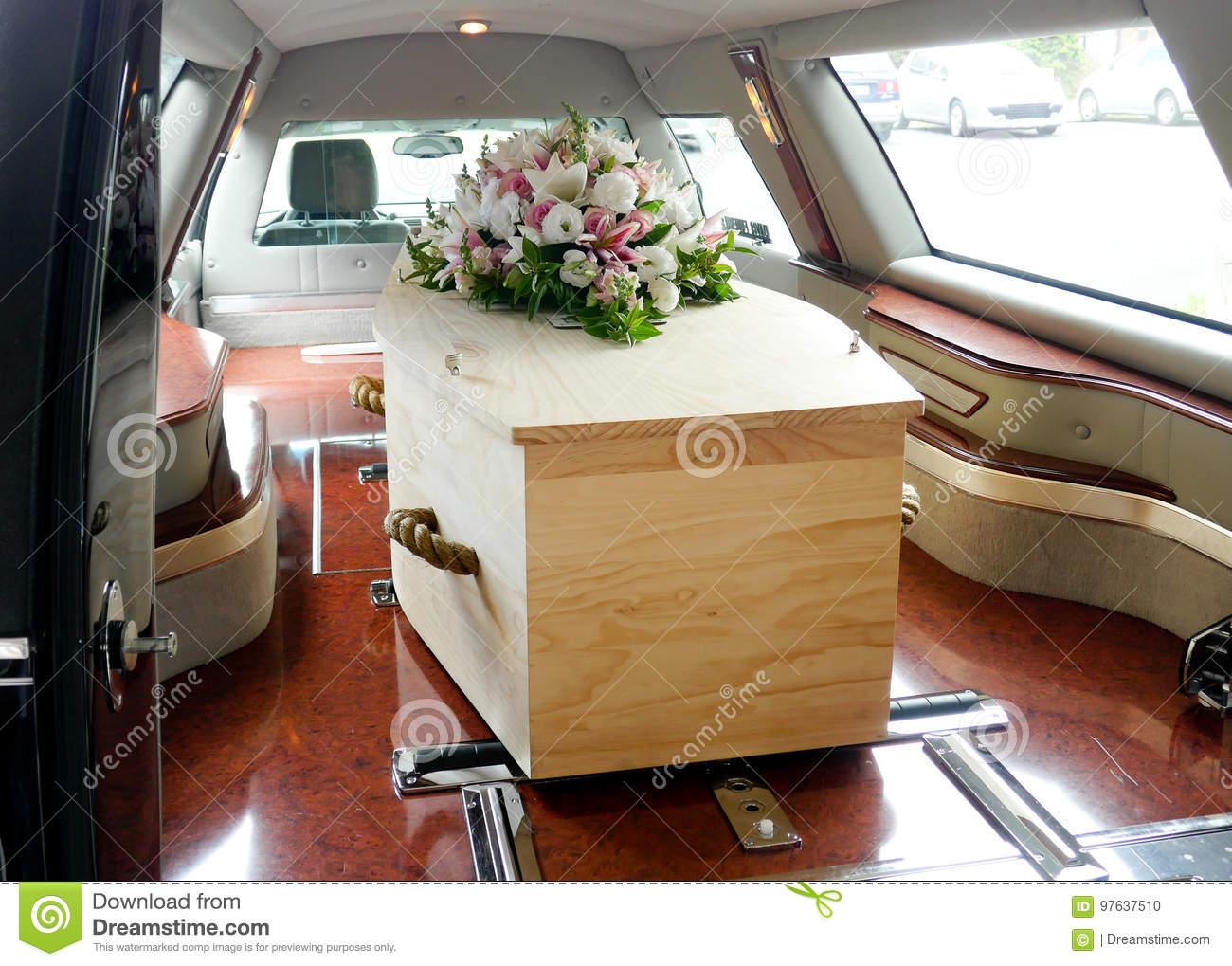 A Colorful Casket In A Hearse Or Church Before Funeral