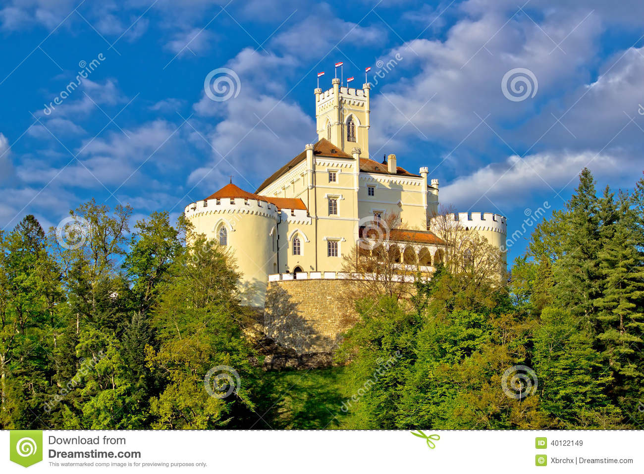 Colorful castle on green hill