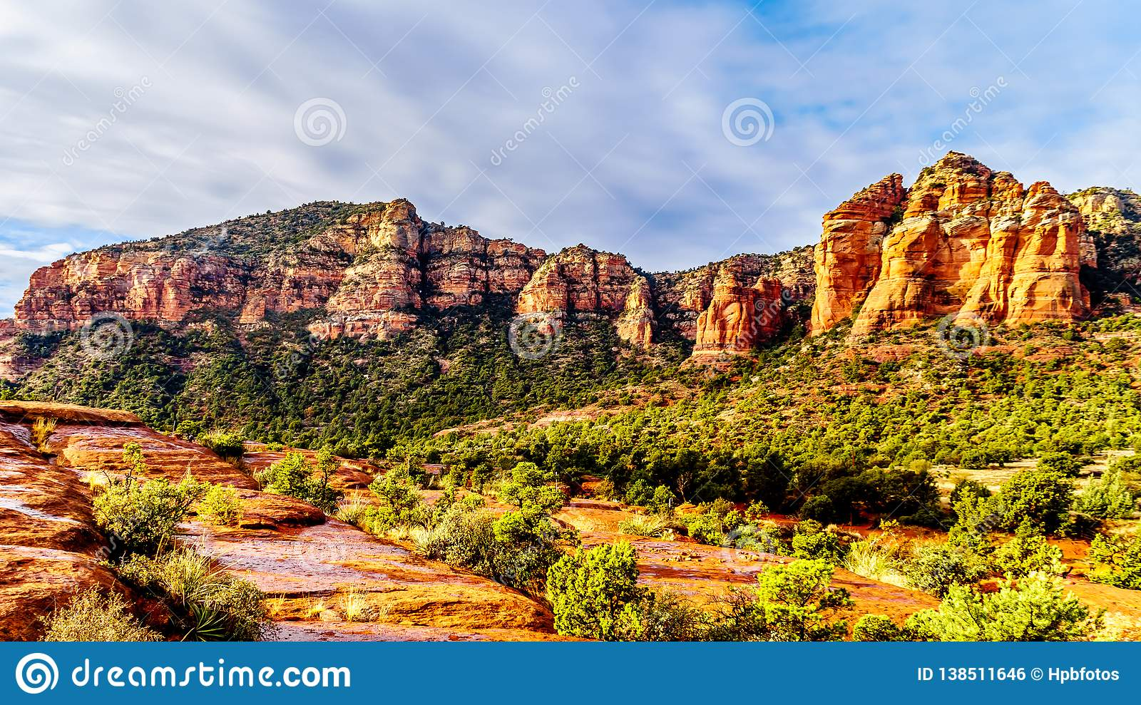 Colorful Cathedral Rock and other red rock mountains between the Village of Oak Creek and Sedona