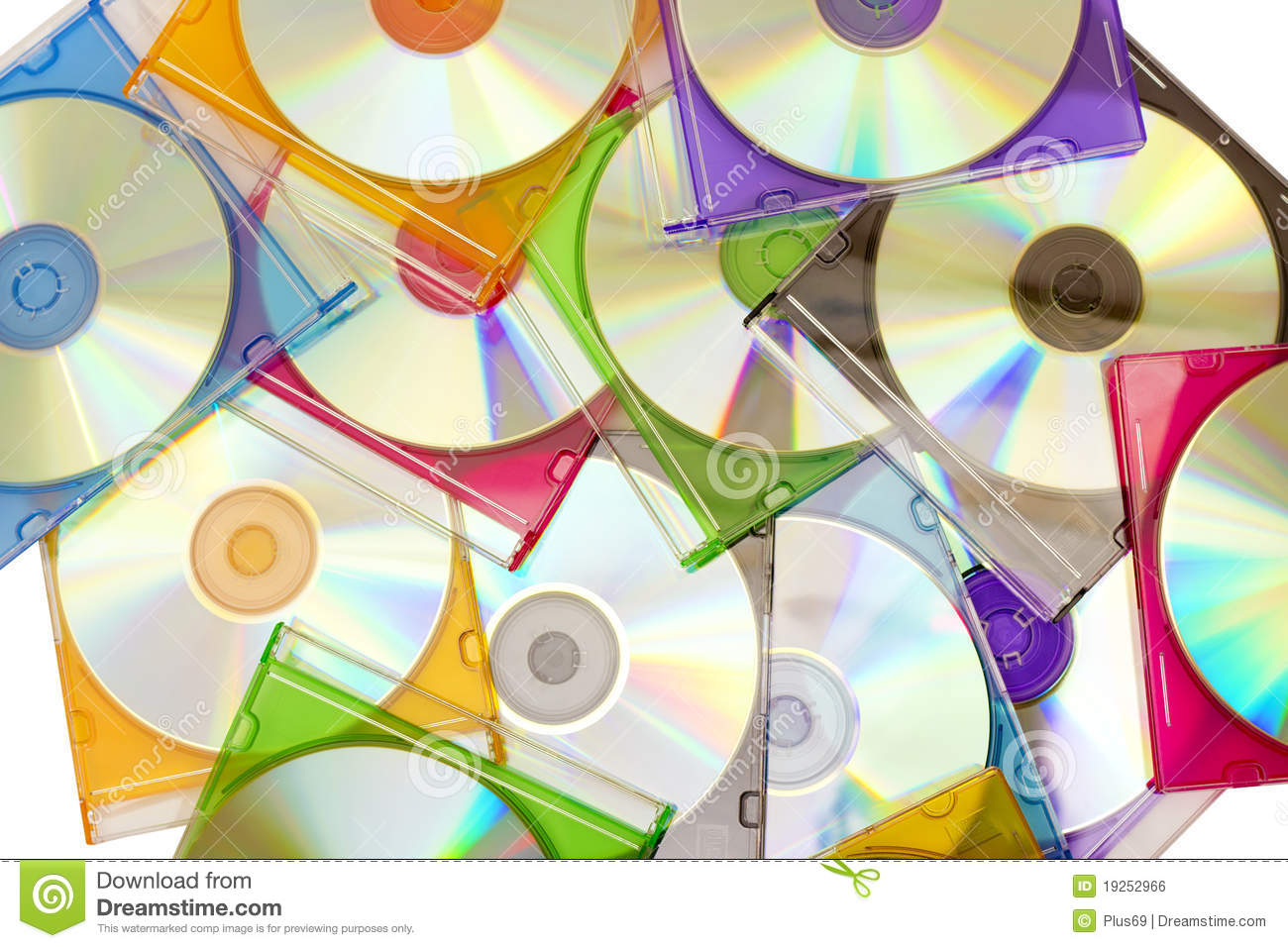 Colorful CDs in boxes