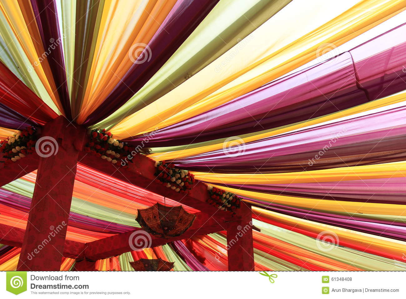 Colorful Ceiling Drapes Stock Photo Image 61348408
