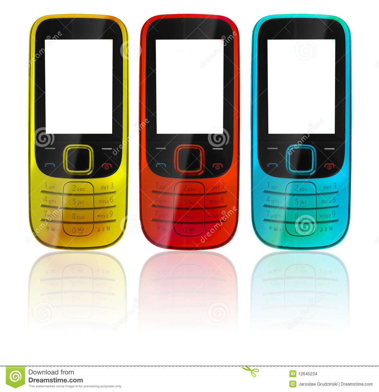 Colorful Cell Phones Stock Images Image 12645234