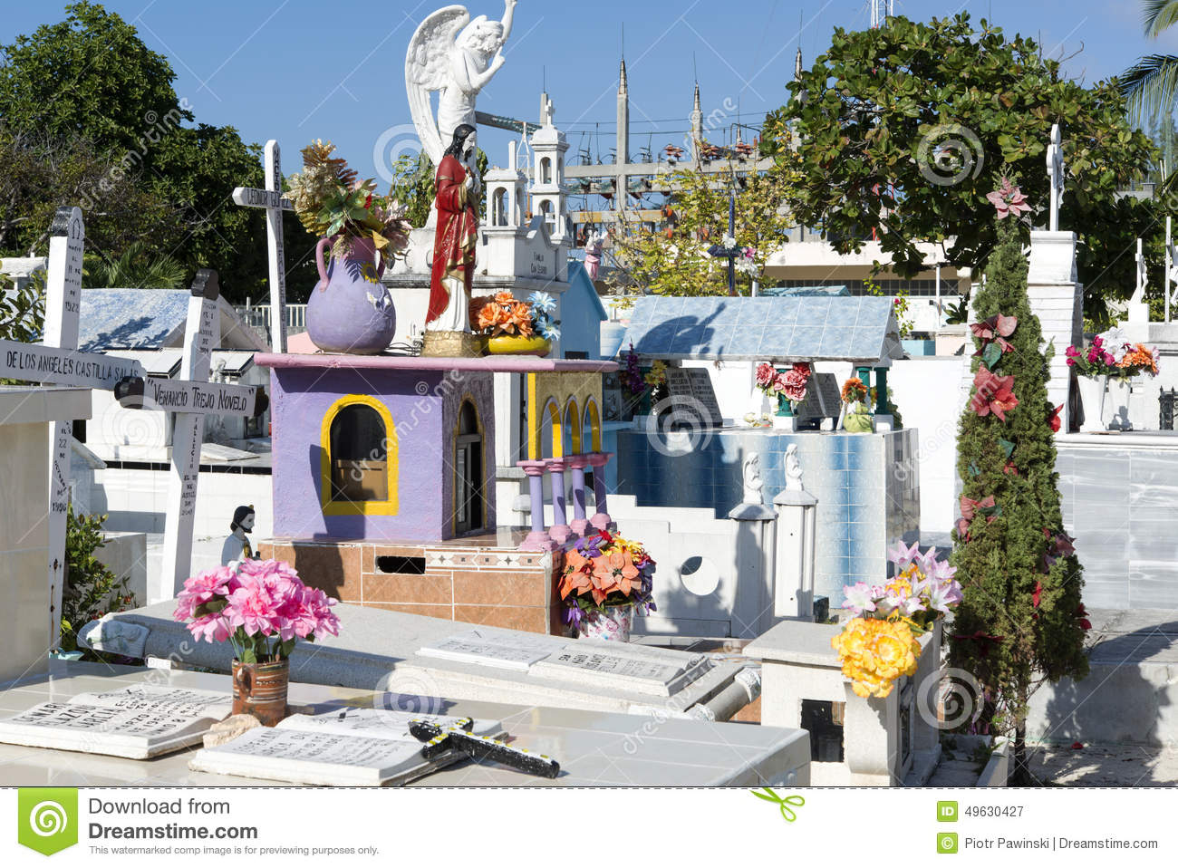 colorful cemetery  isla mujeres mexico editorial