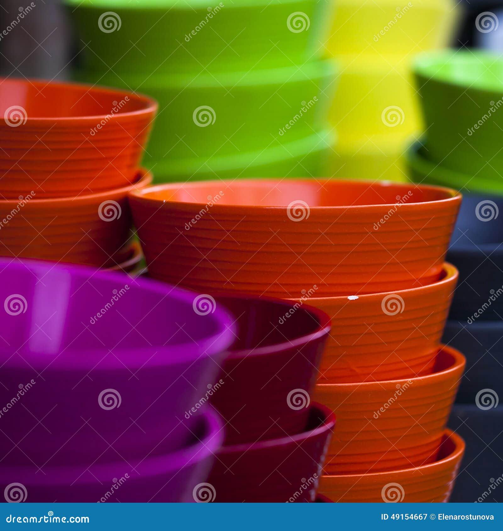 Colorful ceramic pots in glaze