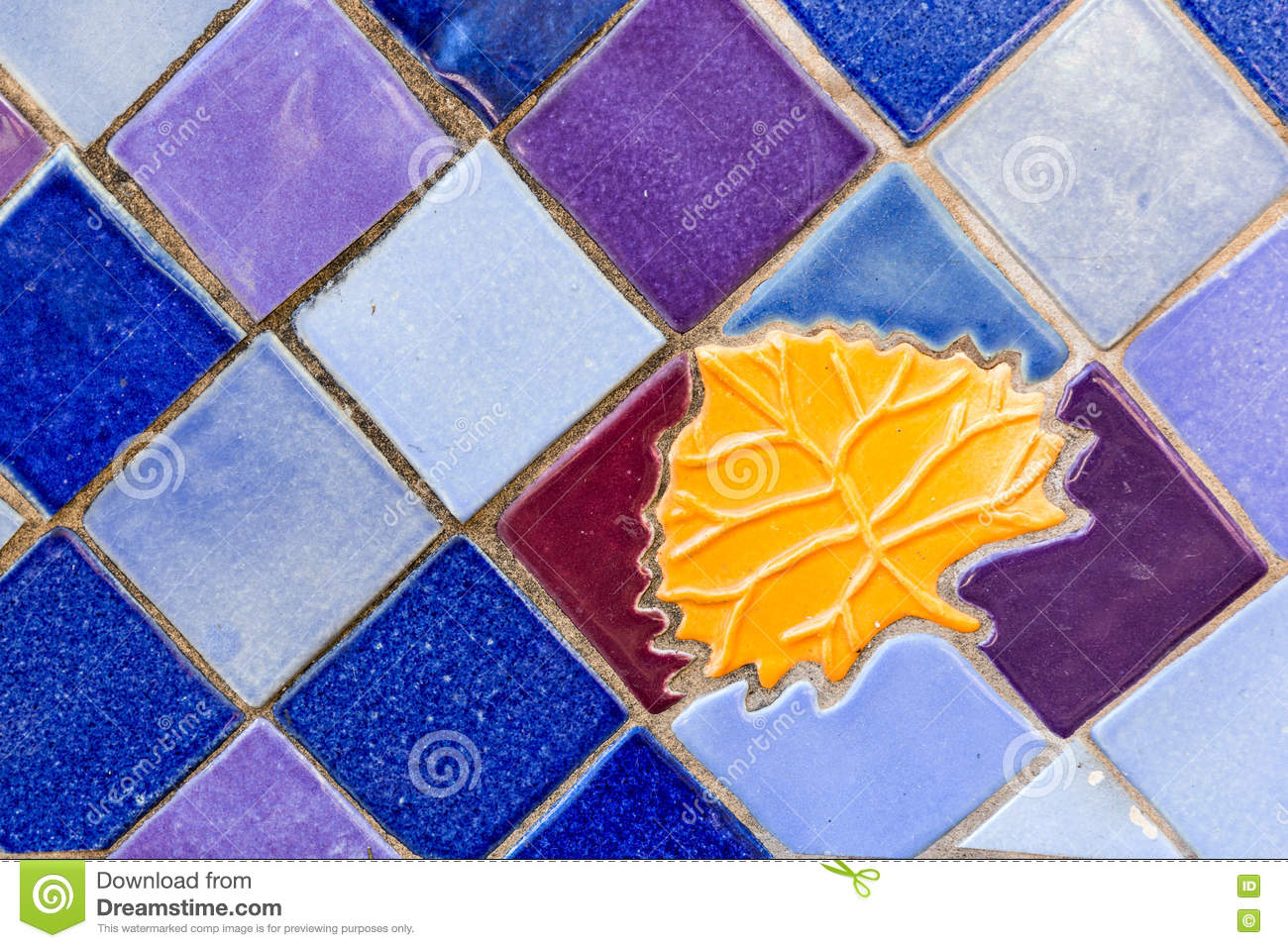Colorful Ceramic Tile Background With Golden Leaf Inset. Stock Image ...