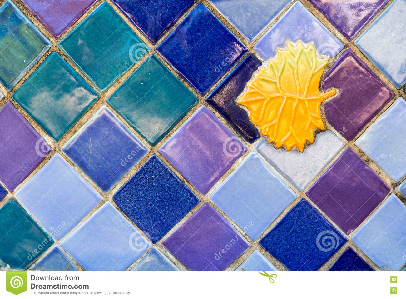 Colorful Ceramic Tile Background With Golden Leaf Inset. Stock Photo ...
