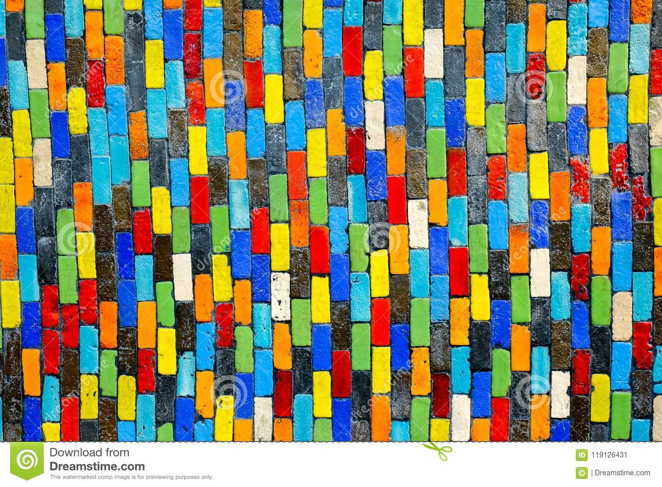 Colorful ceramic on wall for background