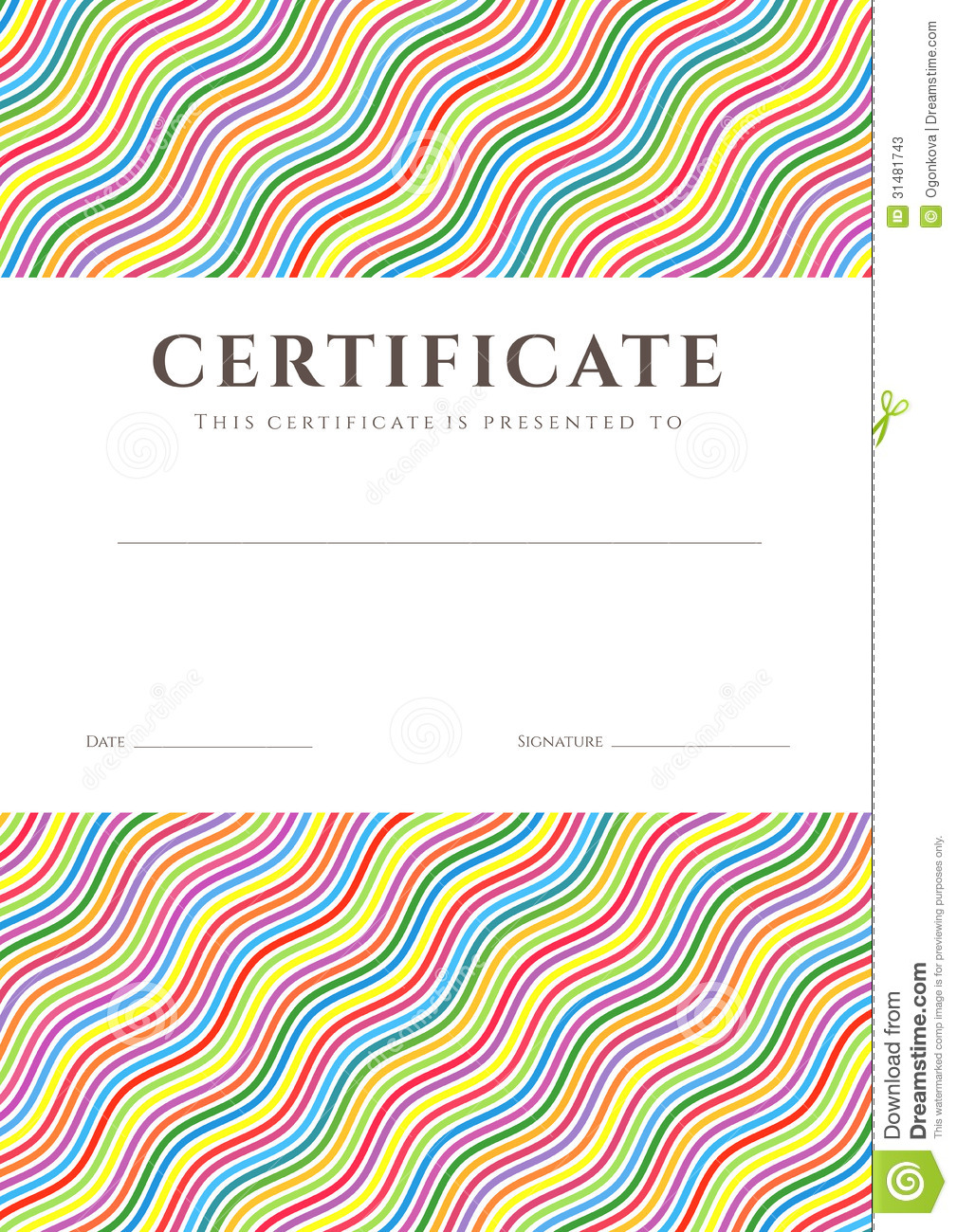 Colorful Certificate   Diploma Background Template Stock