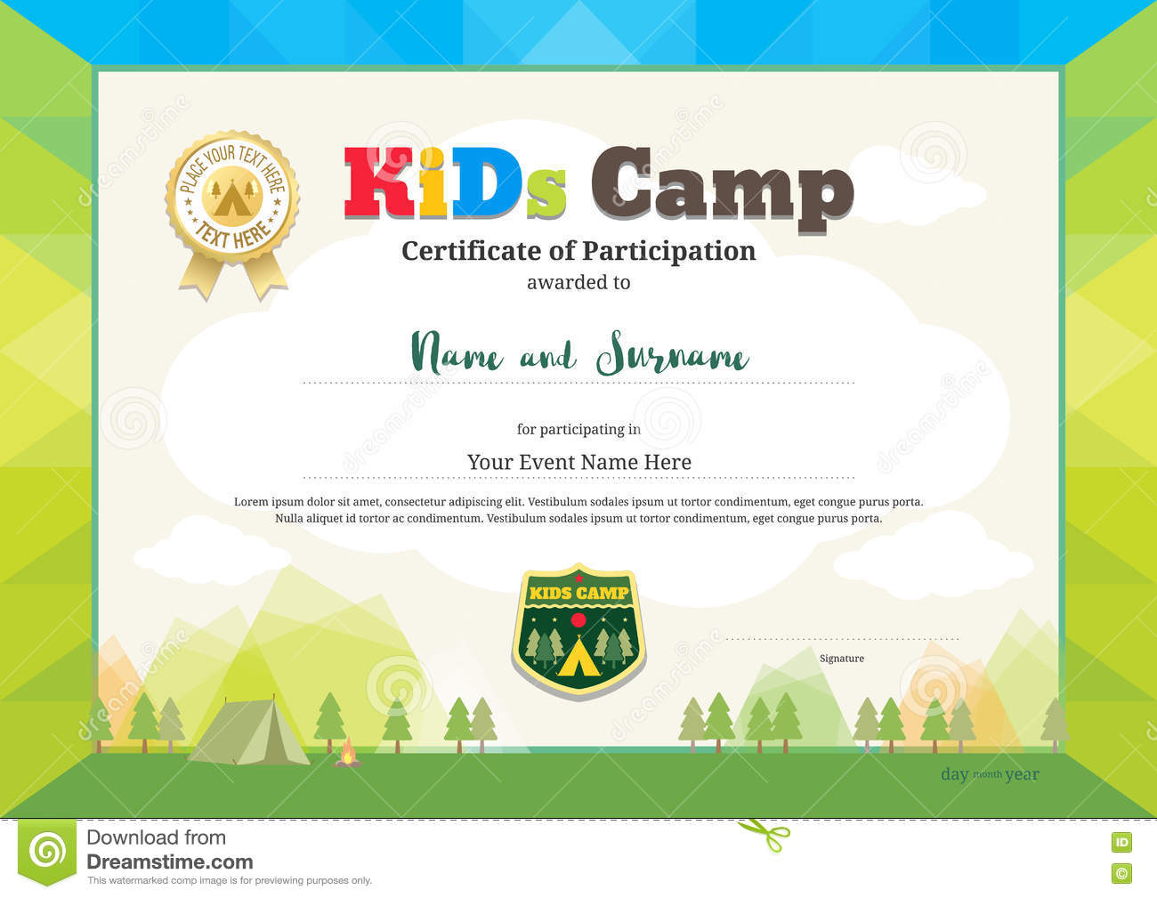 Colorful certificate of partipation for kids activities or kids