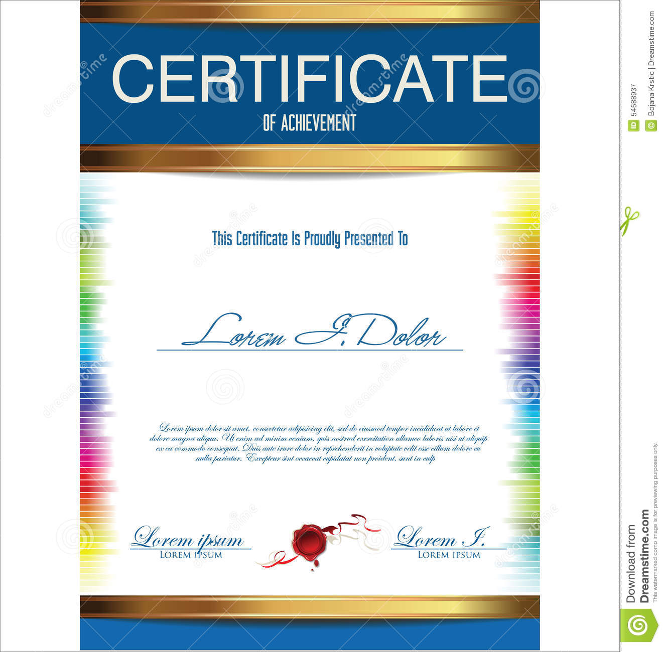 Colorful Certificate Template Stock Illustration - Illustration of ...