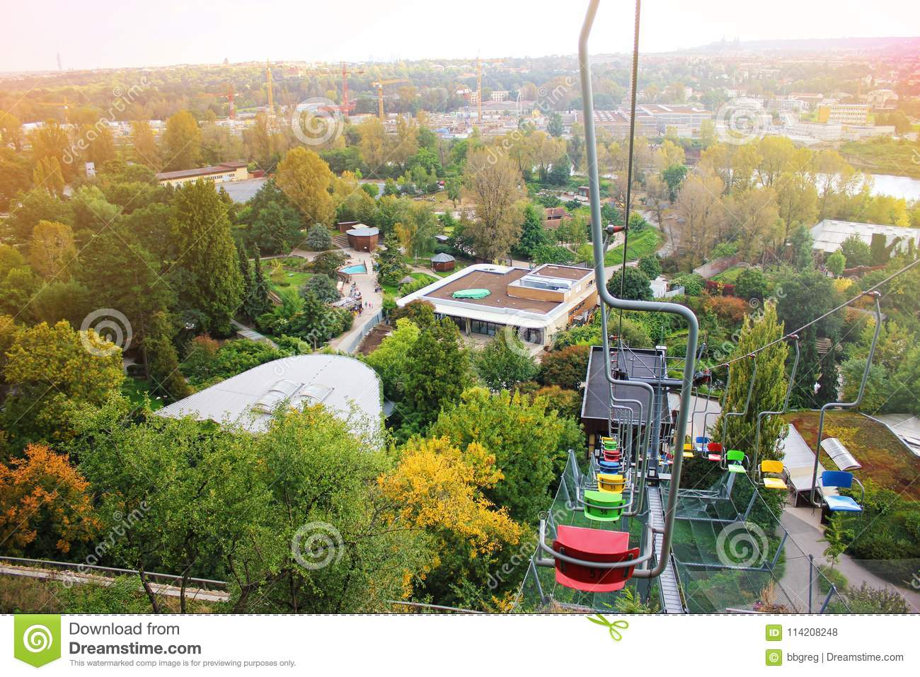 colorful chair lifts funicular in prague zoo czech republic lift station and cable car. Black Bedroom Furniture Sets. Home Design Ideas