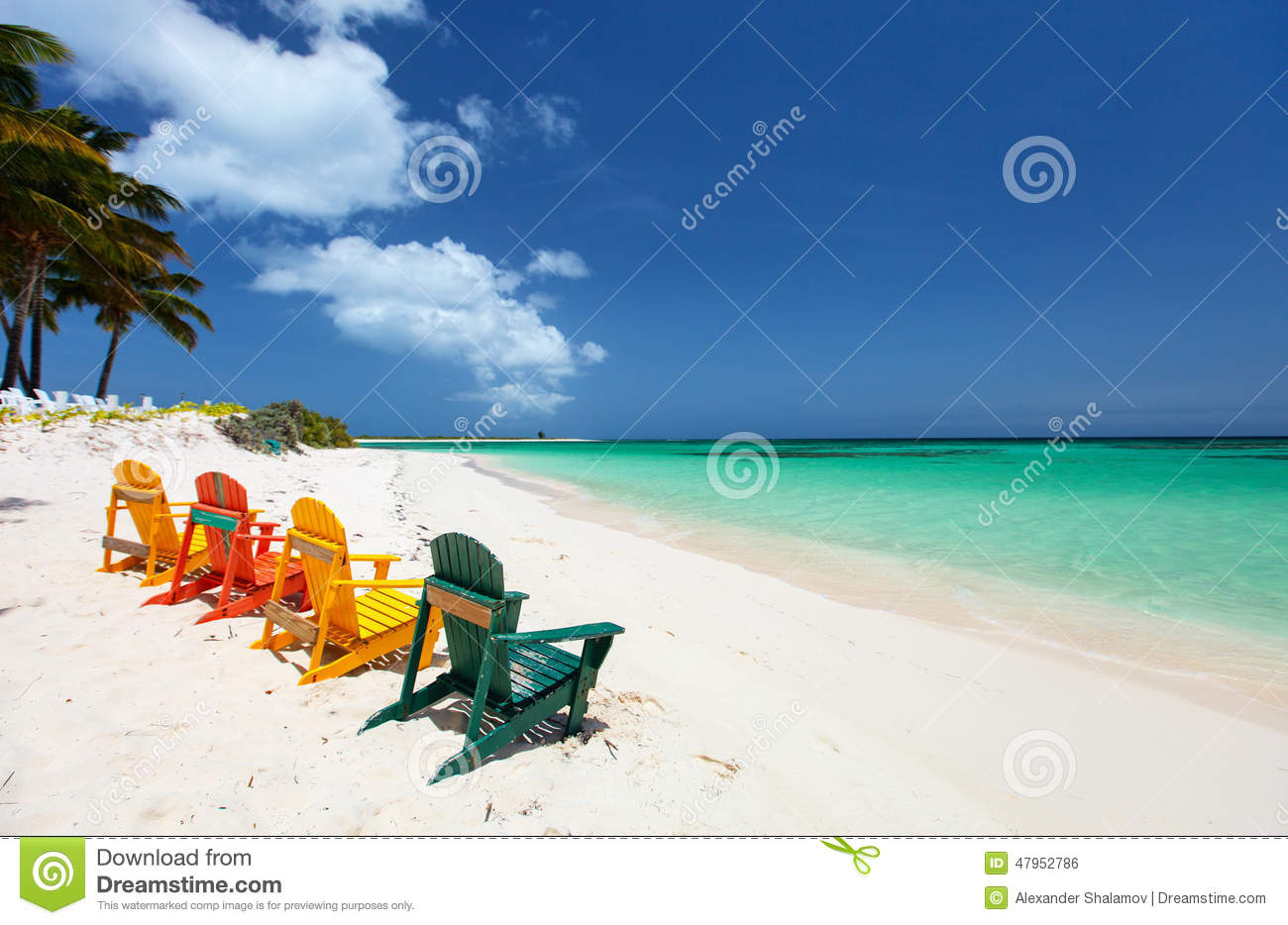 Colorful Chairs On Caribbean Beach Stock Photo Image