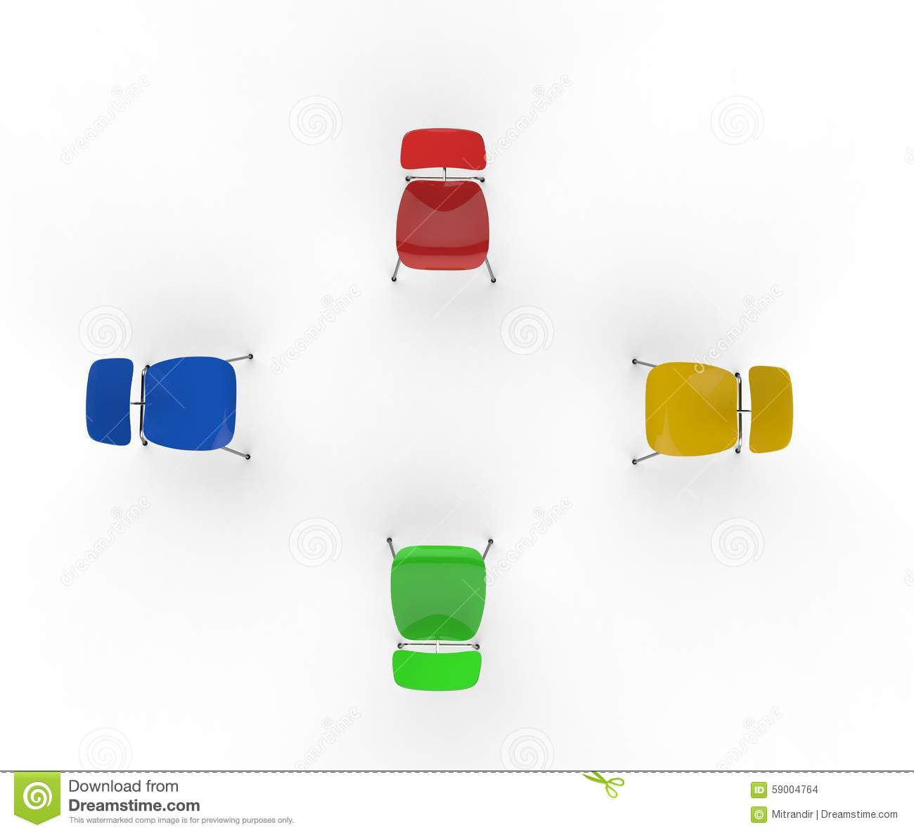 Colorful Chairs Top View Stock Illustration Image 59004764