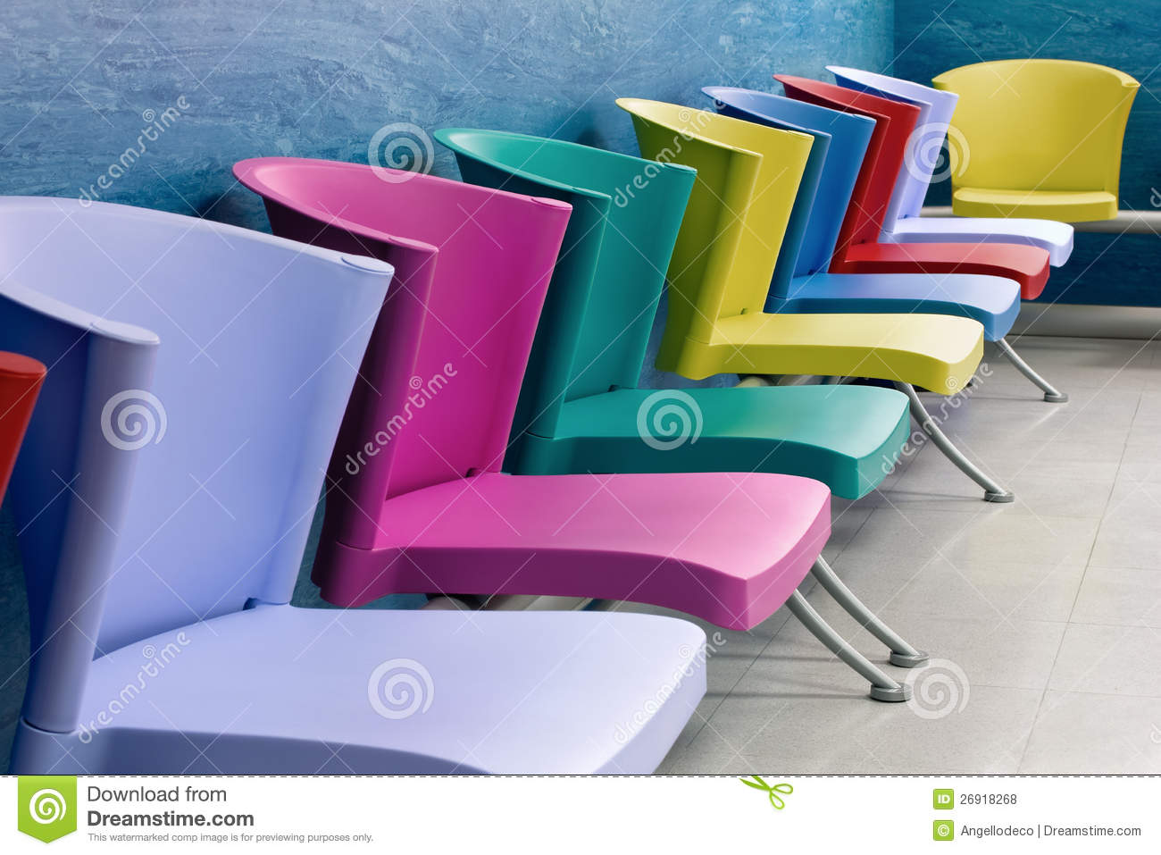 Colorful Chairs In A Waiting Room Royalty Free Stock s Image
