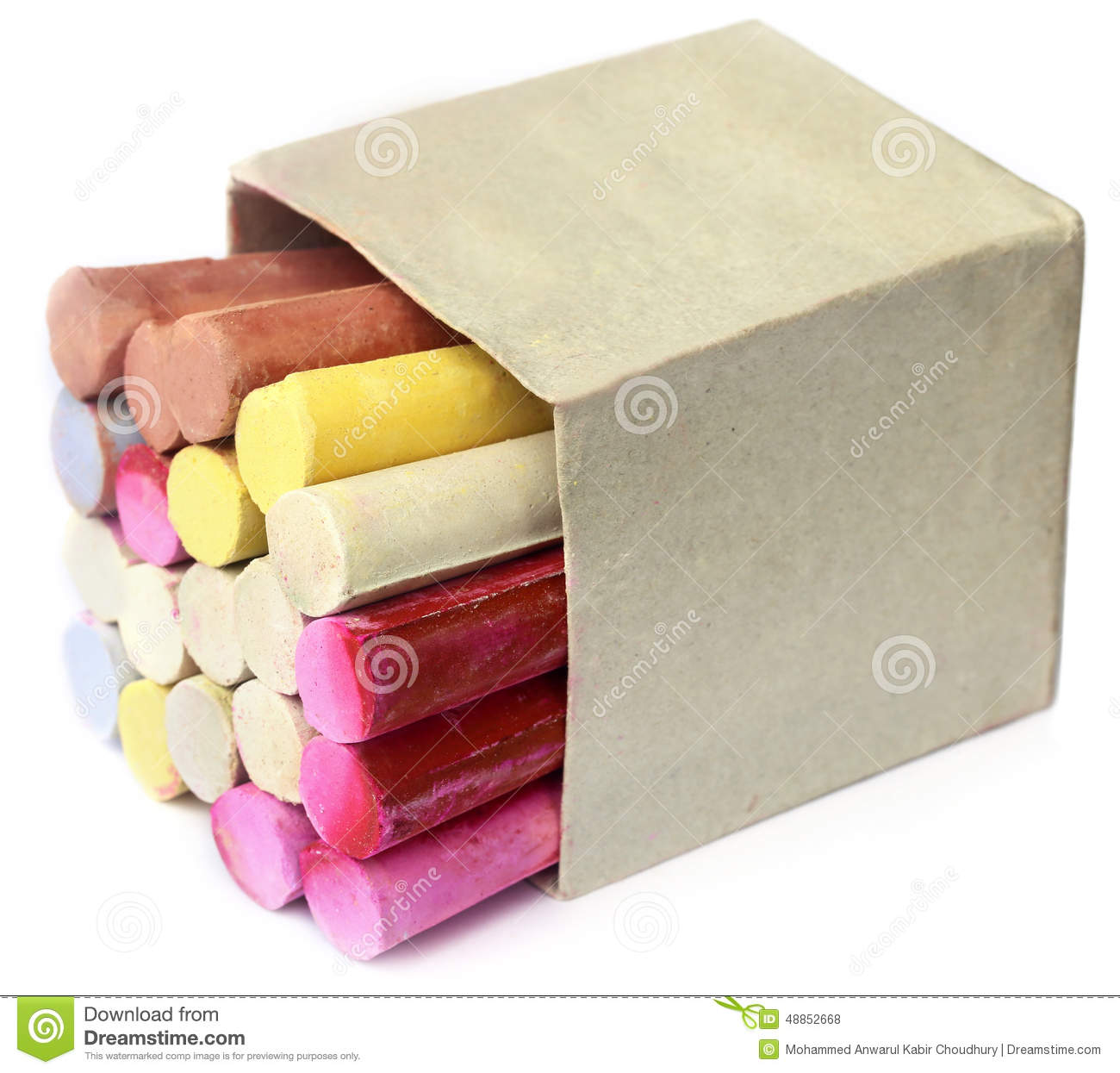 colorful chalk in box stock photo image 48852668. Black Bedroom Furniture Sets. Home Design Ideas