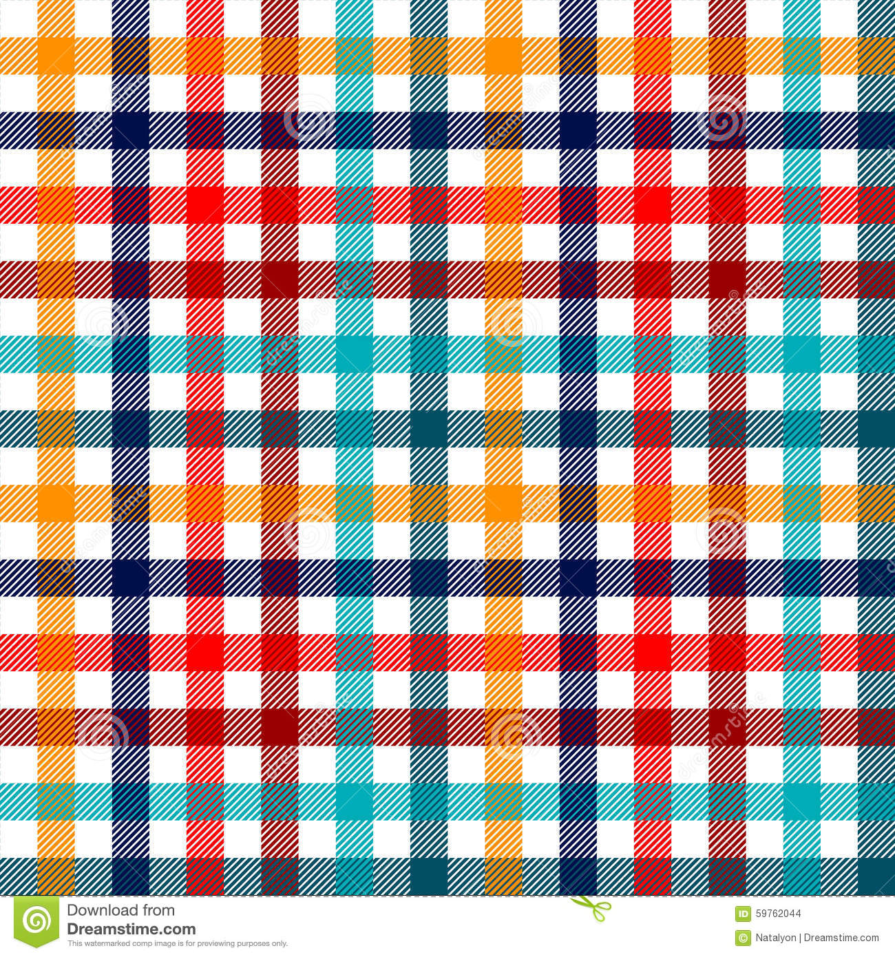 Colorful checkered gingham plaid fabric seamless pattern in blue white red and yellow, print