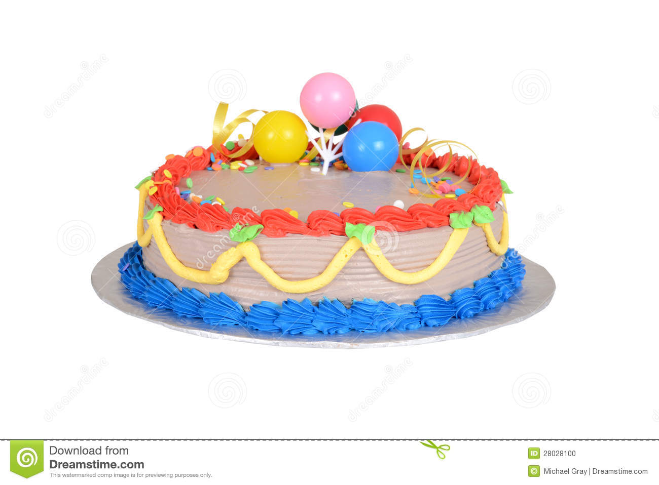 Colorful Child Birthday Cake Stock Photo - Image: 28028100