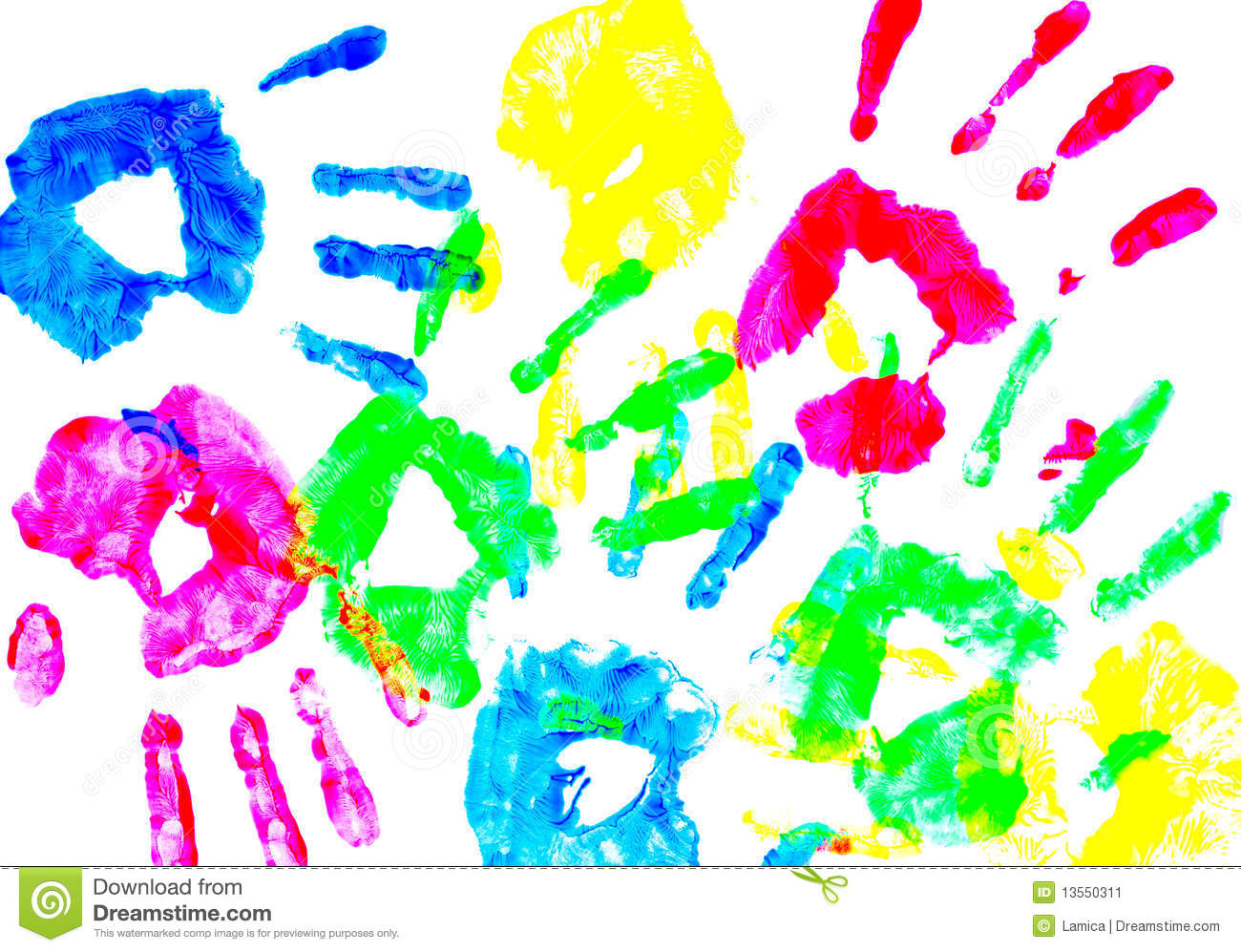 Colorful Child Hand Prints Stock Image Image 13550311 Colorful Prints