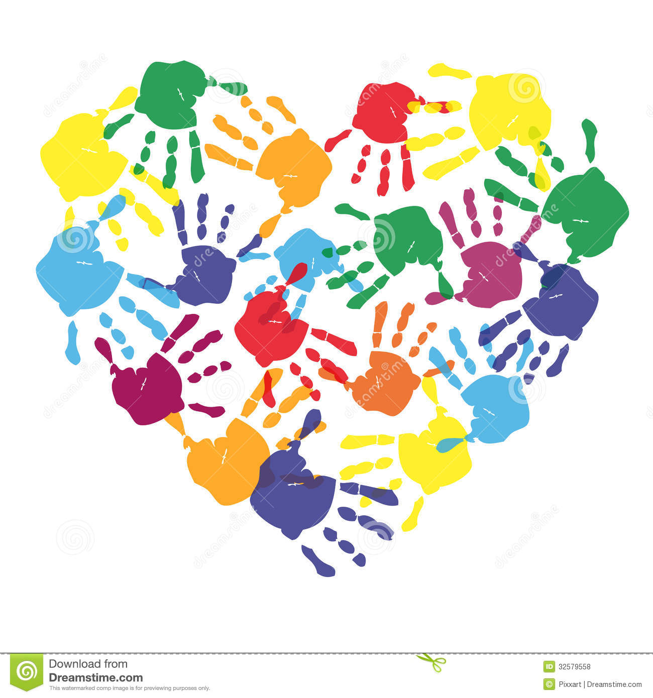 Colorful Child Hand Prints In Heart Shape Royalty Free ...