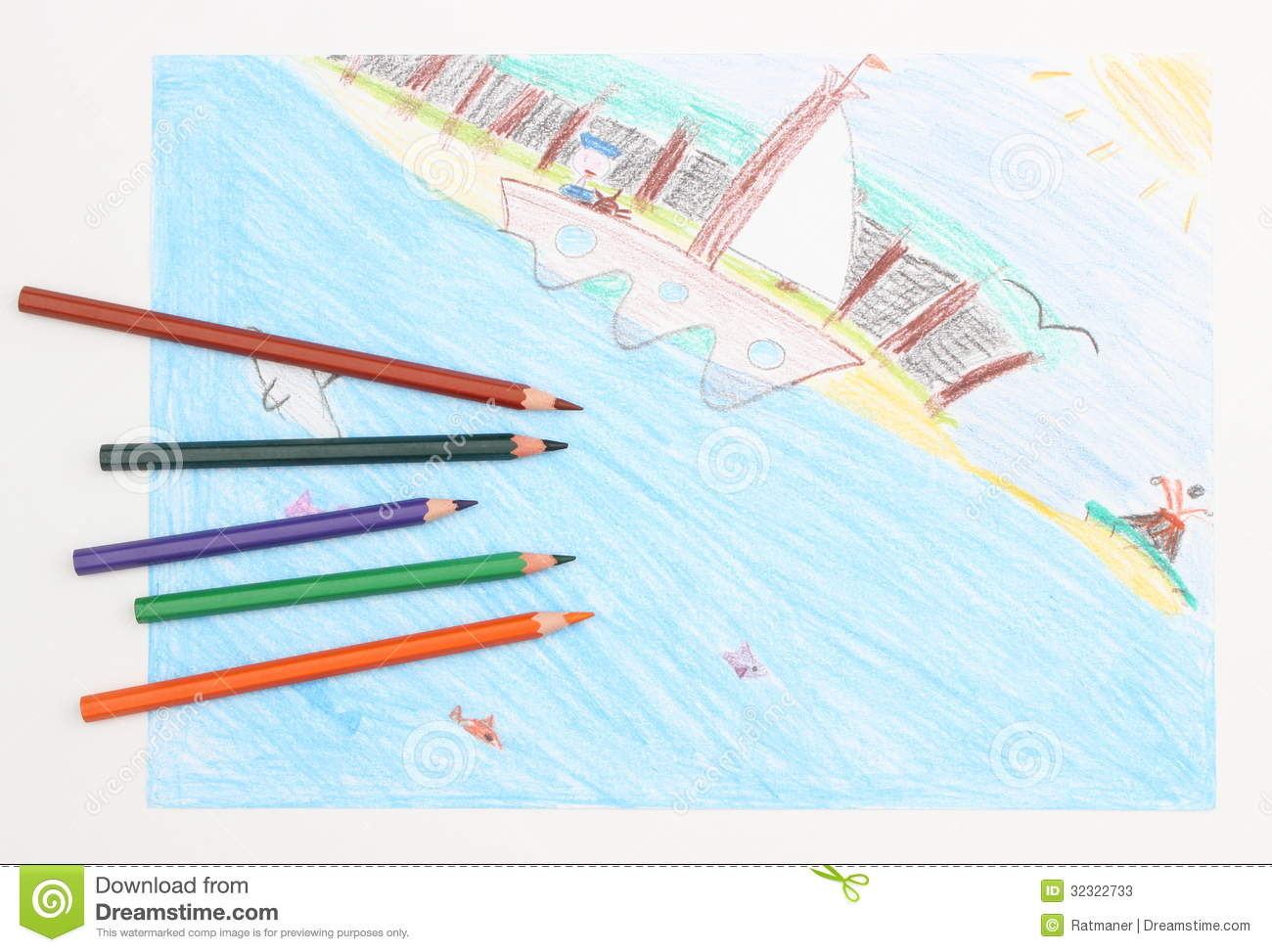 colorful child u0027s drawing of a ship at sea and crayons stock photos