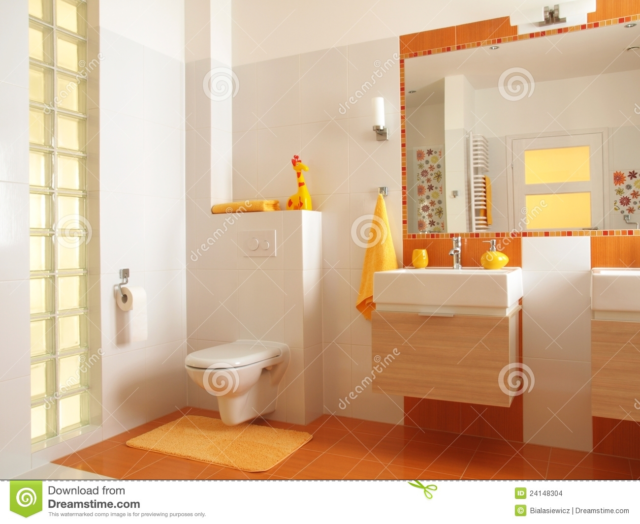 Colorful Children Bathroom With Toilet Stock Images