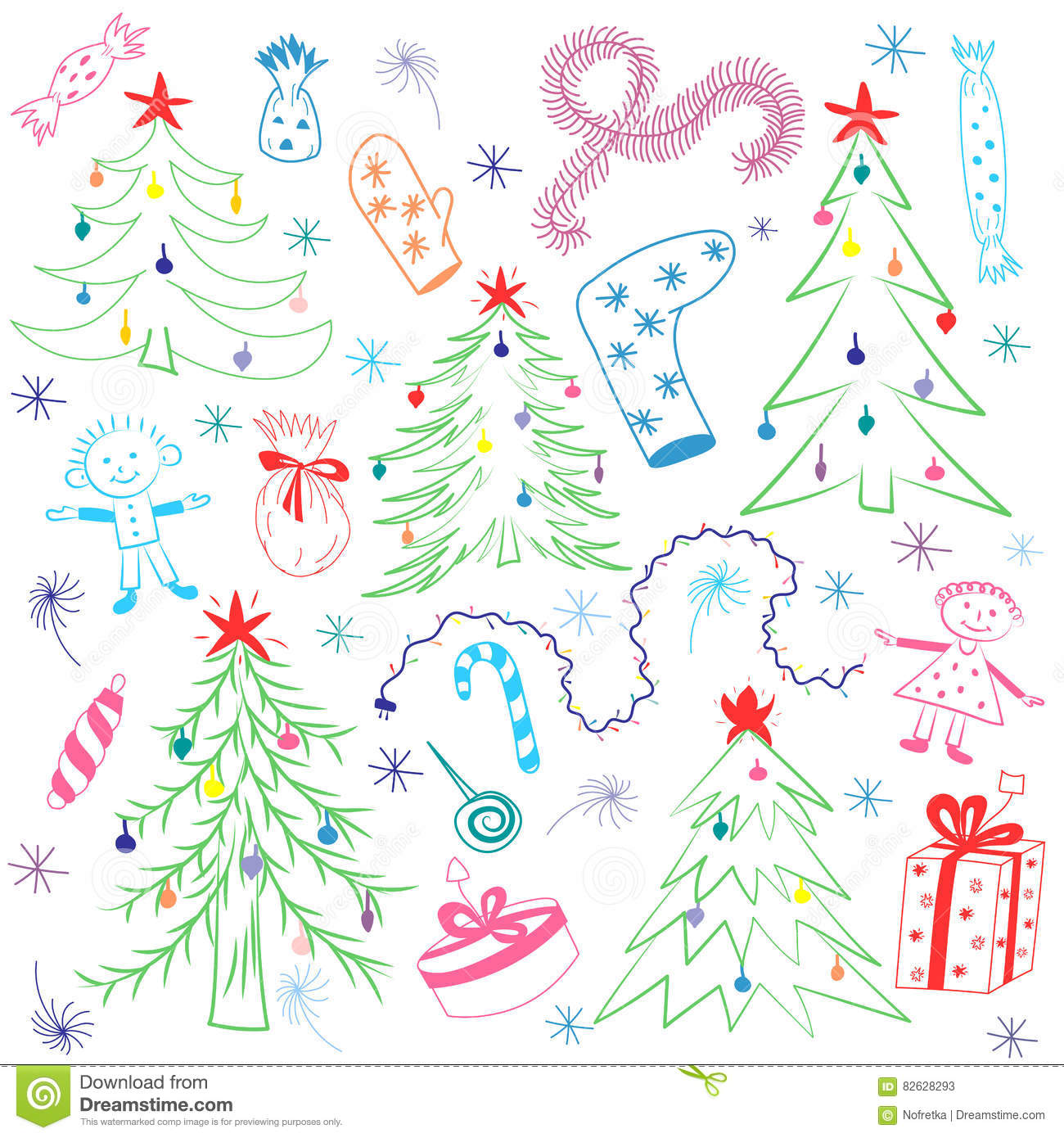 Colorful Children Drawings of Fir trees. Funny Doodle Winter Holiday`s Symbols and Kids
