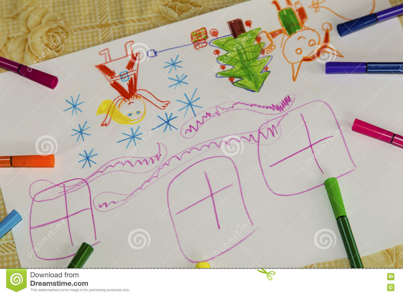 Colorful children`s drawing