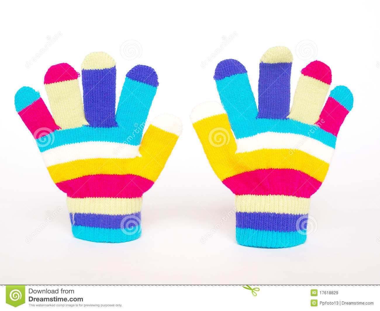 Colorful children's gloves stock image. Image of clothes
