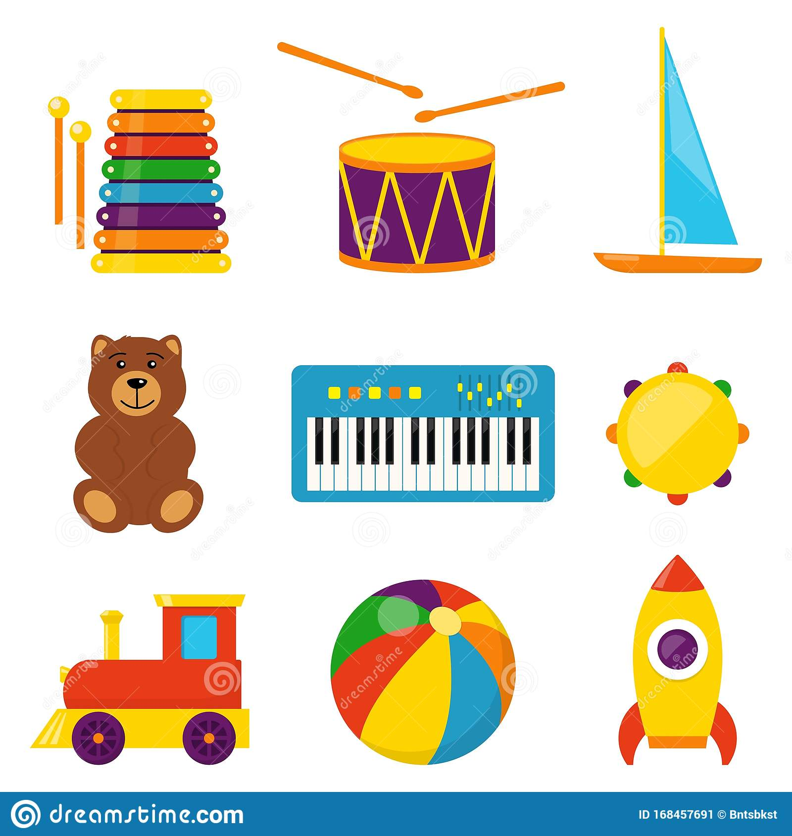 Colorful Children Toys, Set Of Vector Icons In Flat Style ...