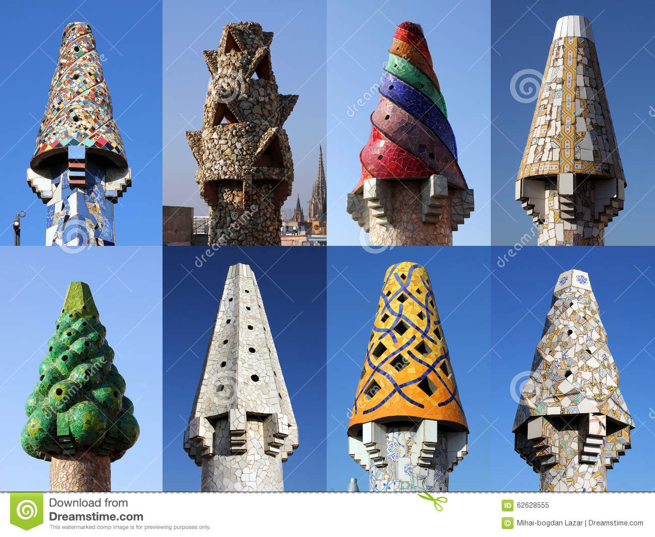 Colorful Chimneys On Palau Guell Barcelona Stock Image