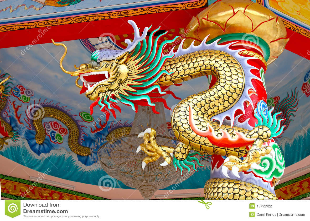 Colorful China Dragon On Oriental Temple Roof Stock