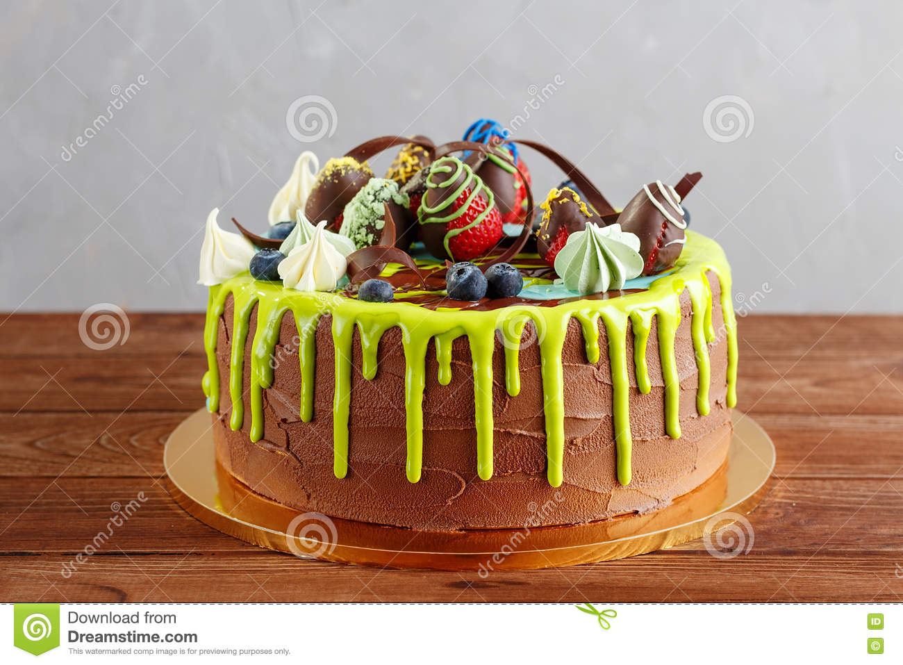 Colorful Chocolate Cake With Fruit And Glaze Stock Photo Image of