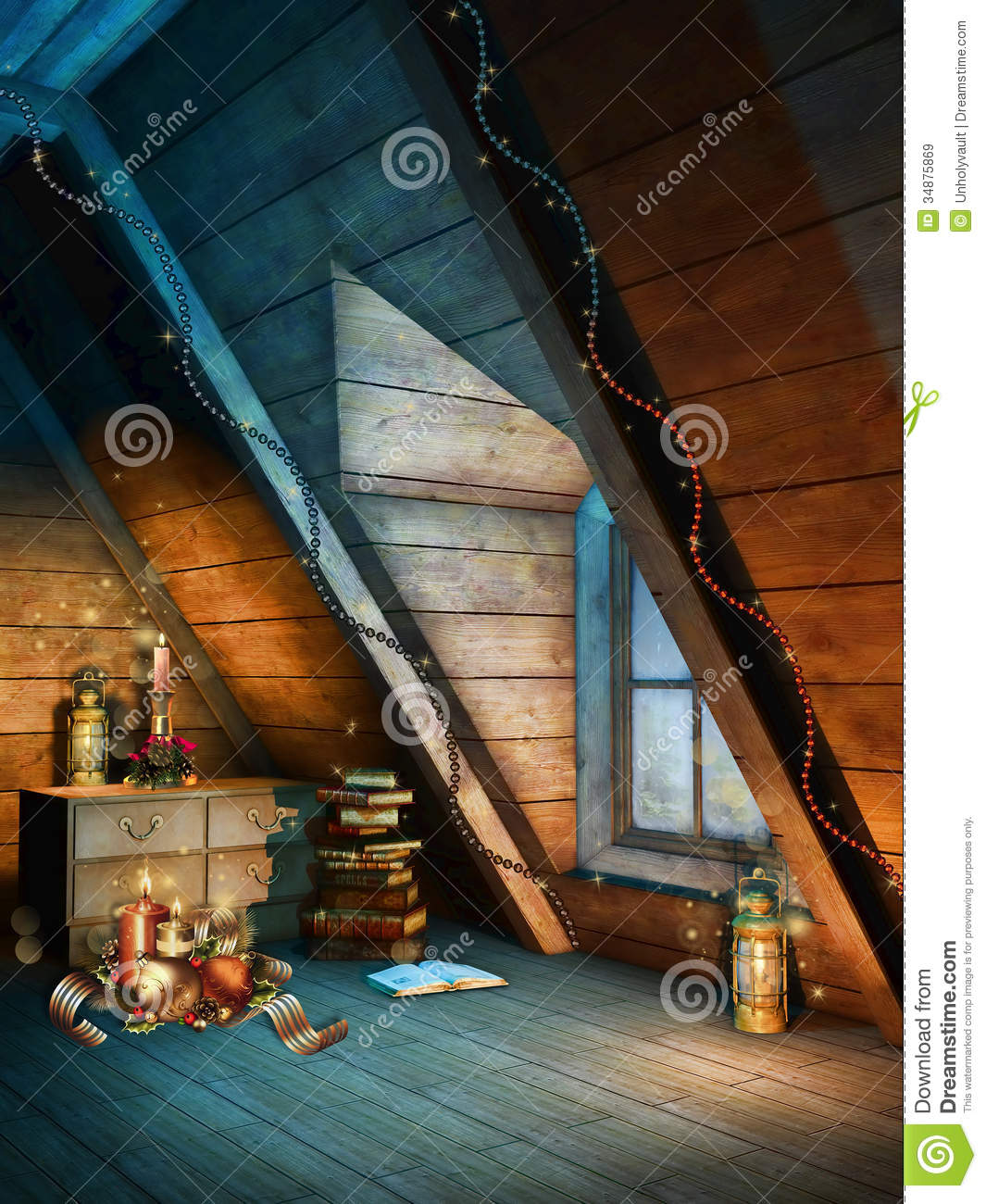 Colorful christmas attic royalty free stock images image for Attic decoration