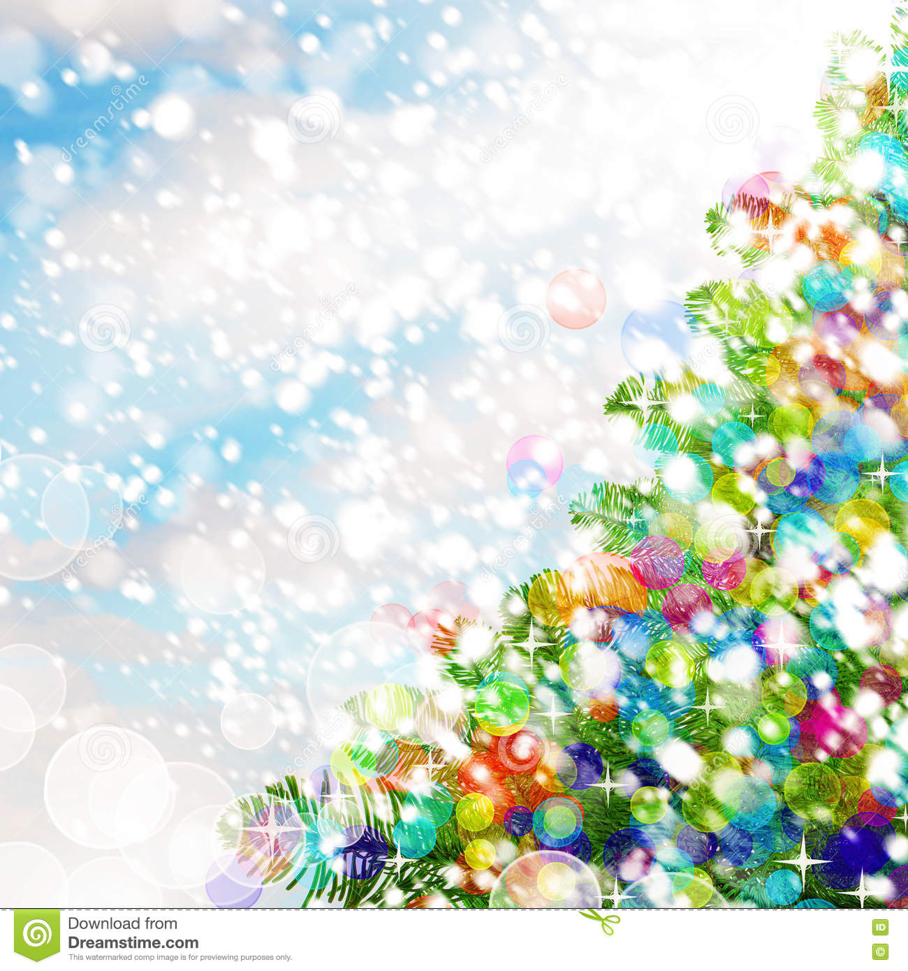 Colorful Christmas Background Design.Colorful Christmas Background Christmas Tree Snow And