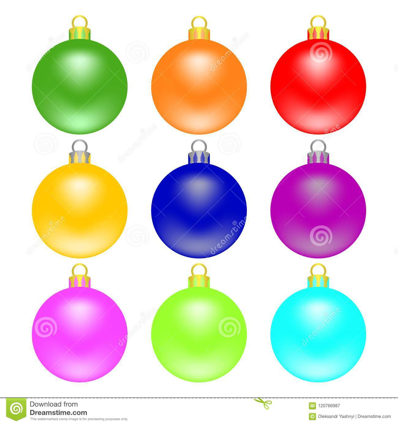 Colorful Christmas Tree Vector.Colorful Christmas Balls Set Isolated On White Background