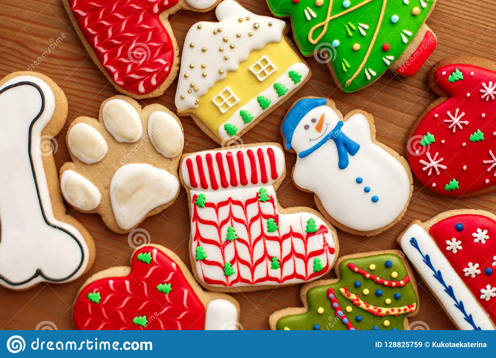 Colorful Christmas Cookies Set Lay On Wooden Table Holidays Food