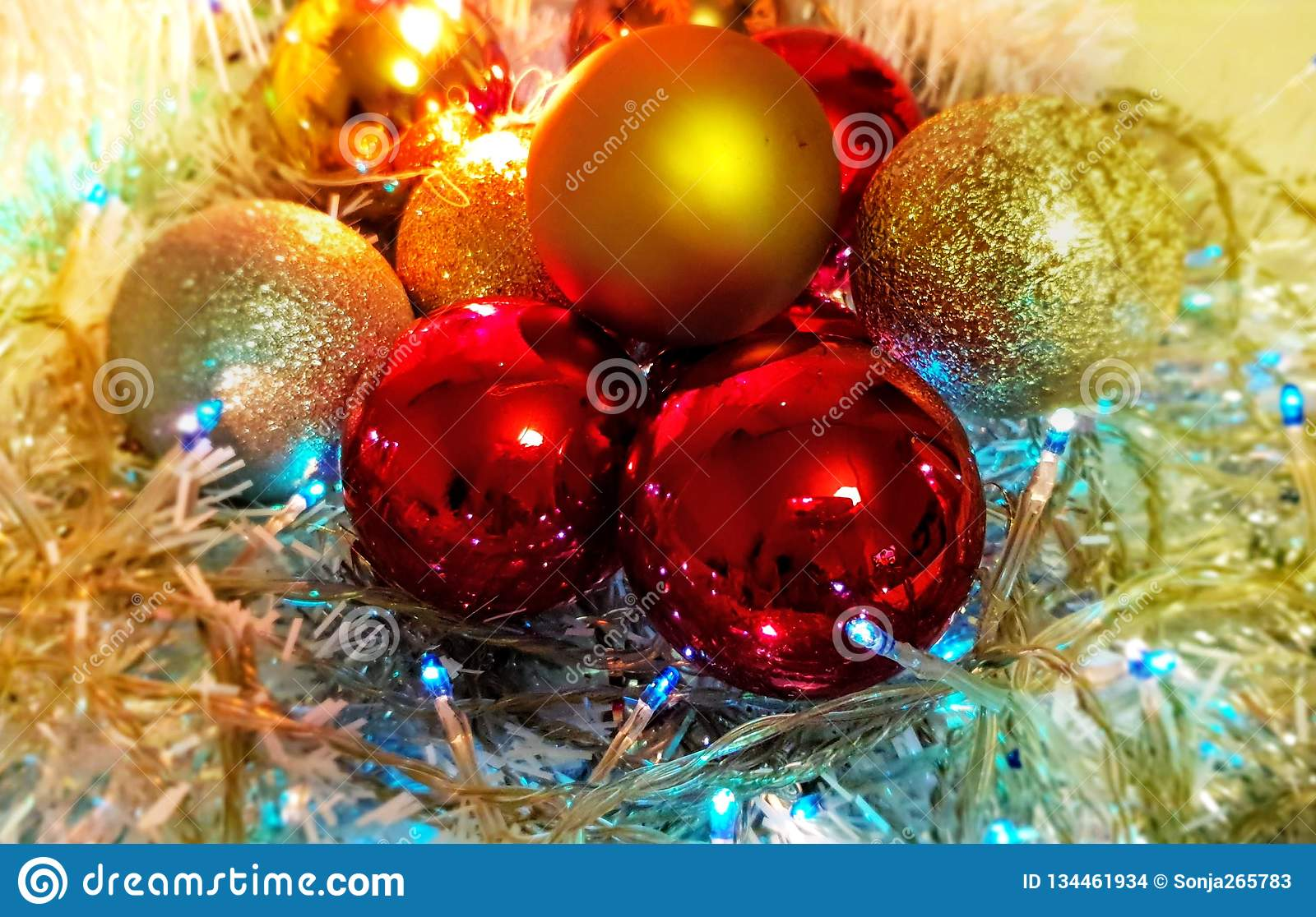 Colorful Christmas Decoration Ideas Red Blue Gold Silver Balls Silver Garland Christmas Light Decoration Illumination Ideas Stock Photo Image Of White Lights 134461934