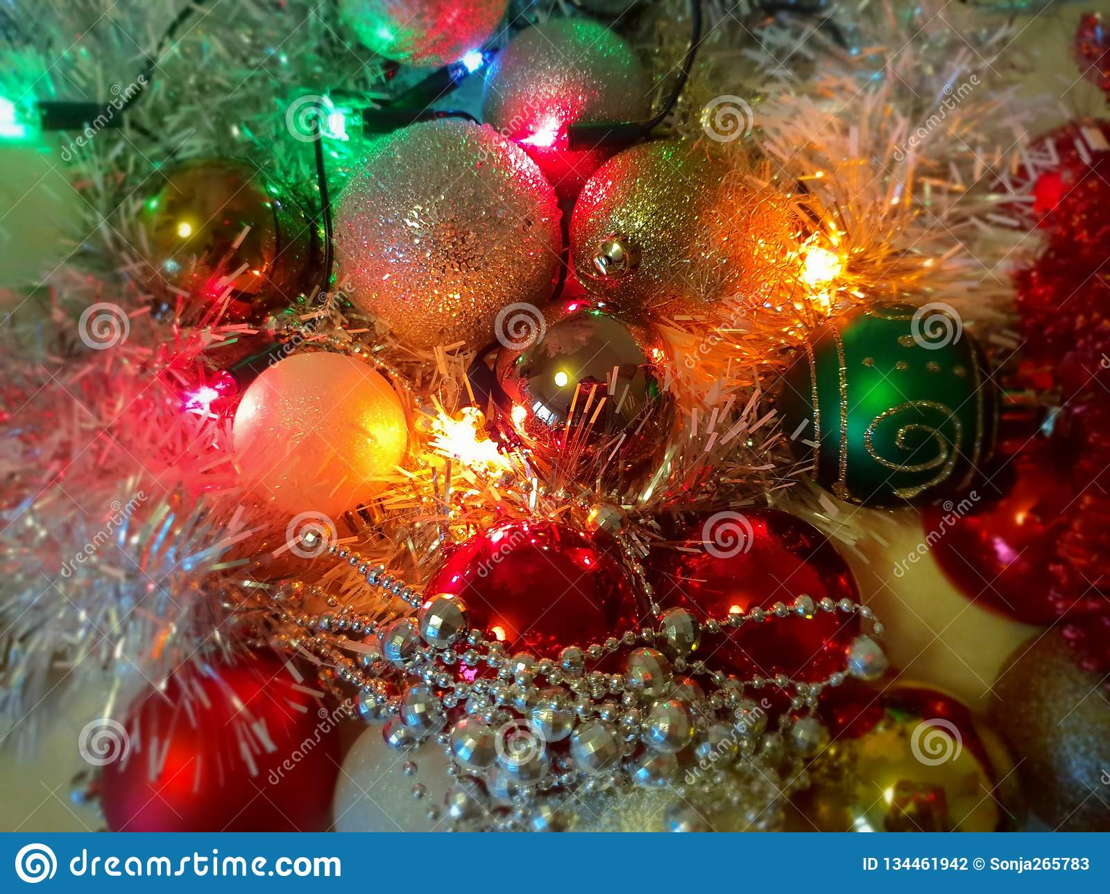 Red And Silver Christmas Decorations Ideas.Colorful Christmas Decoration Ideas White Balls Silver