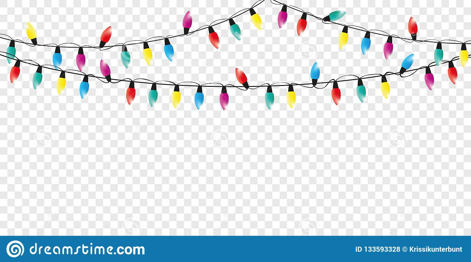 Christmas Fairy Lights Illustration.Colorful Christmas Fairy Lights Decoration Isolated Party